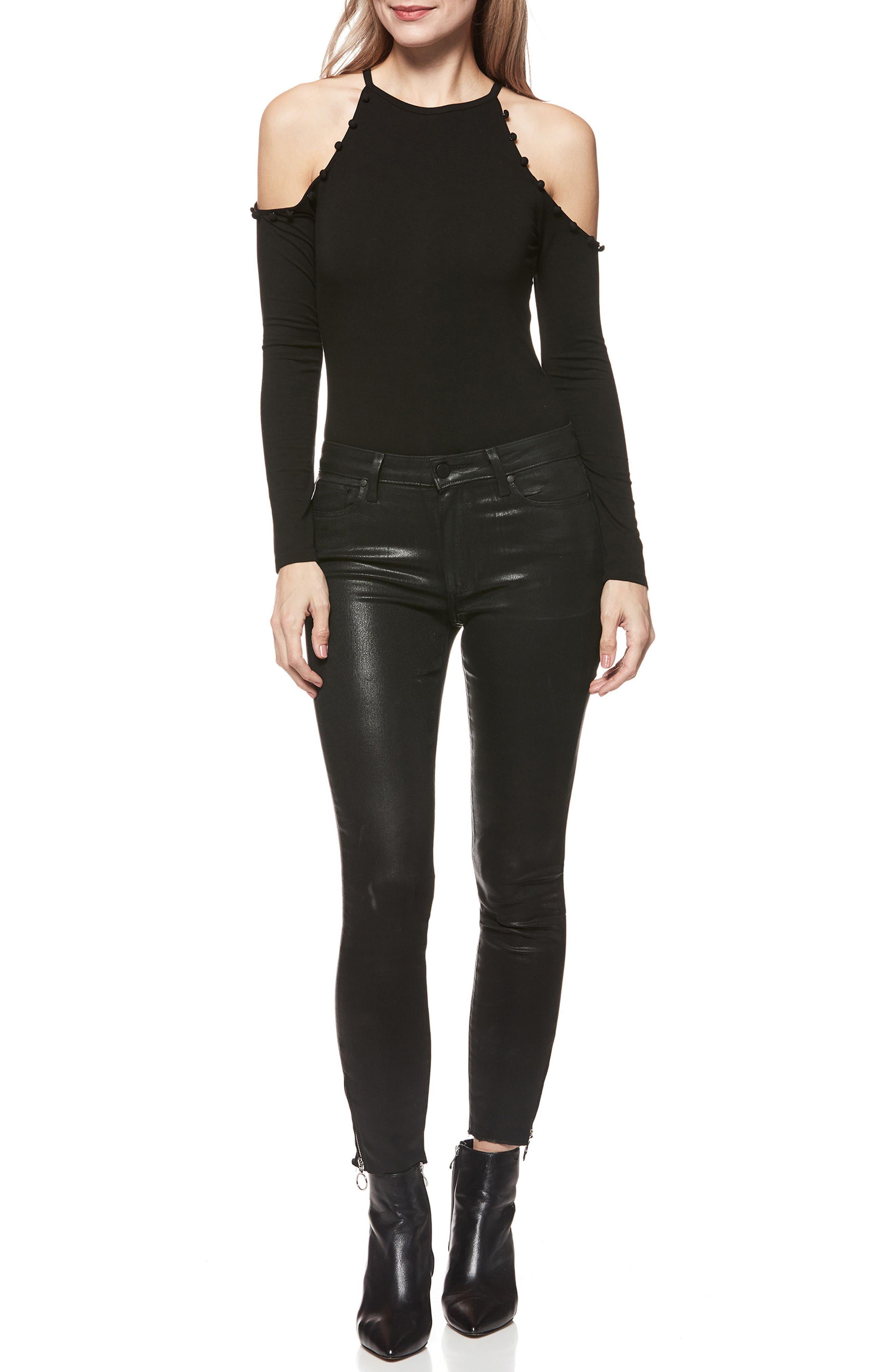 Siana Cold-Shoulder Bodysuit,                             Alternate thumbnail 3, color,                             001