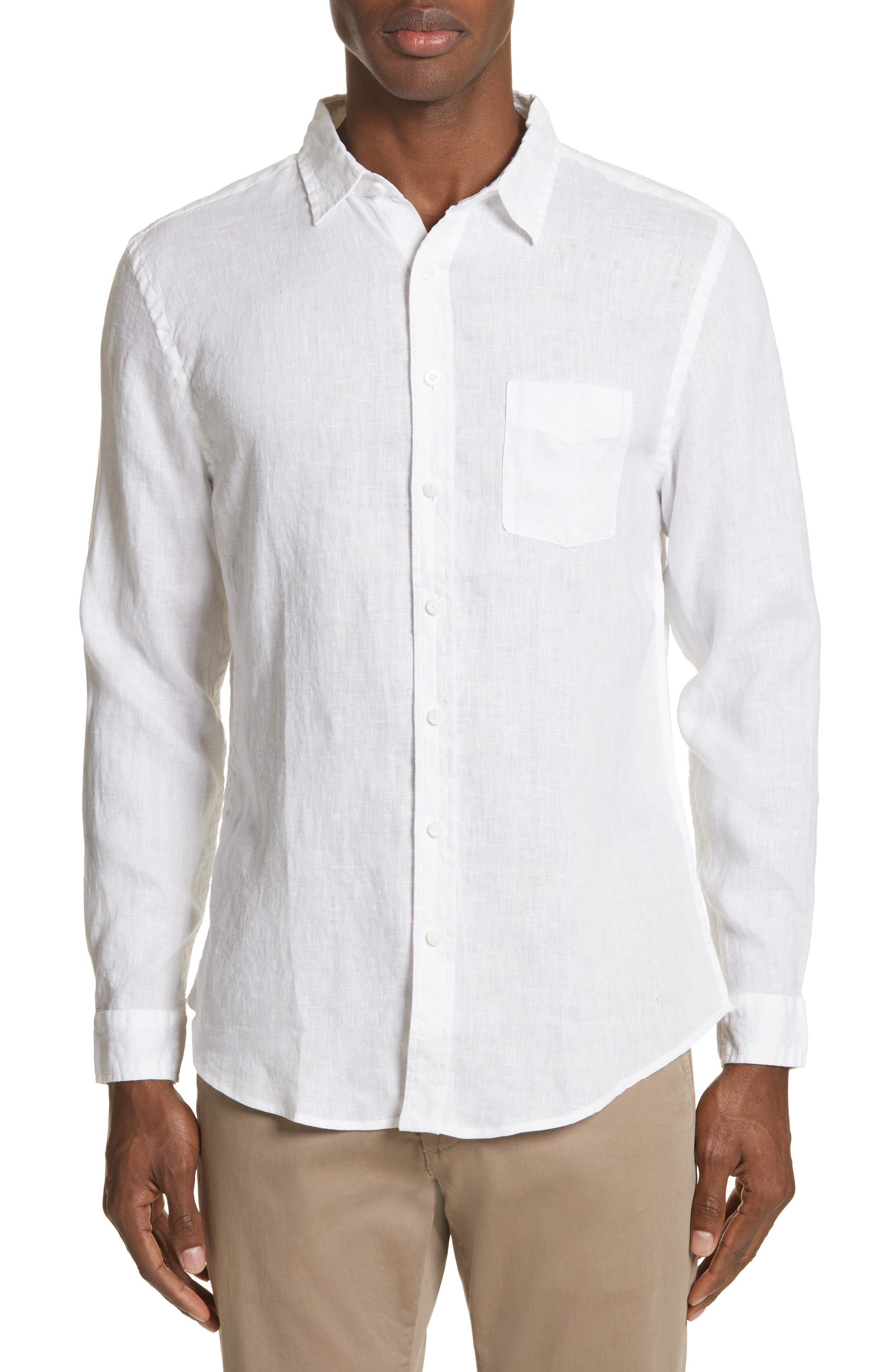 Abe Linen Shirt,                         Main,                         color, WHITE