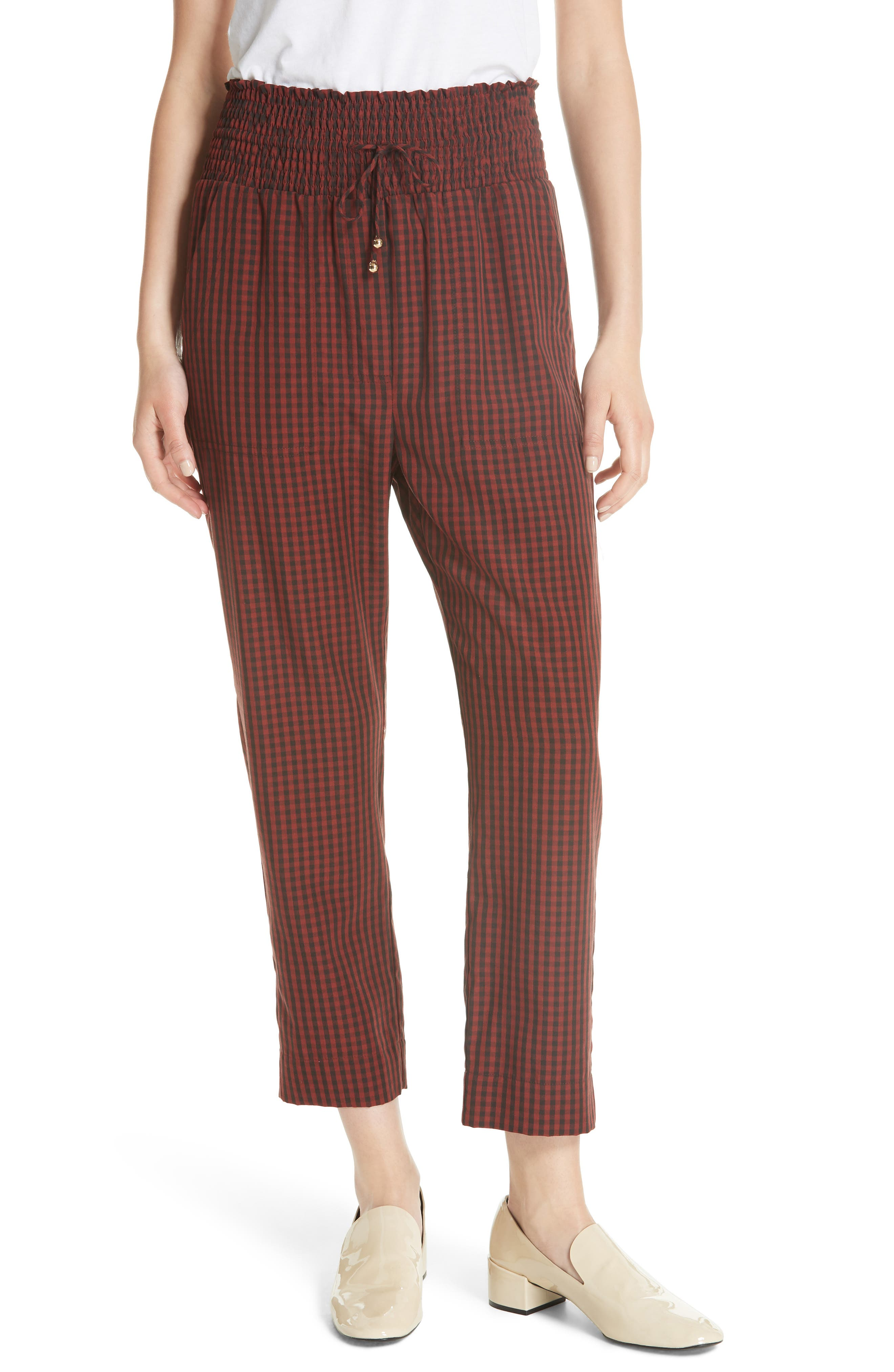 Harlem Gingham Crop Pants,                             Main thumbnail 1, color,                             RED CHECK