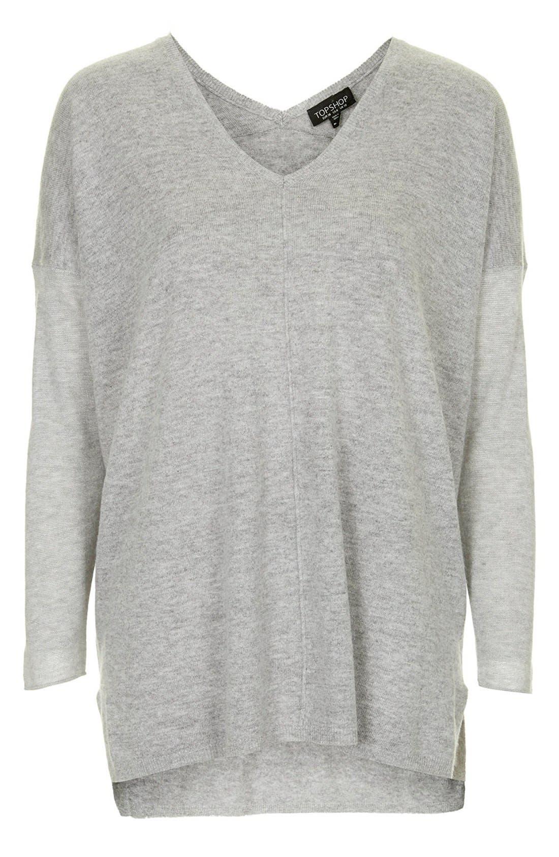 Front Seam V-Neck Sweater,                             Alternate thumbnail 2, color,                             050