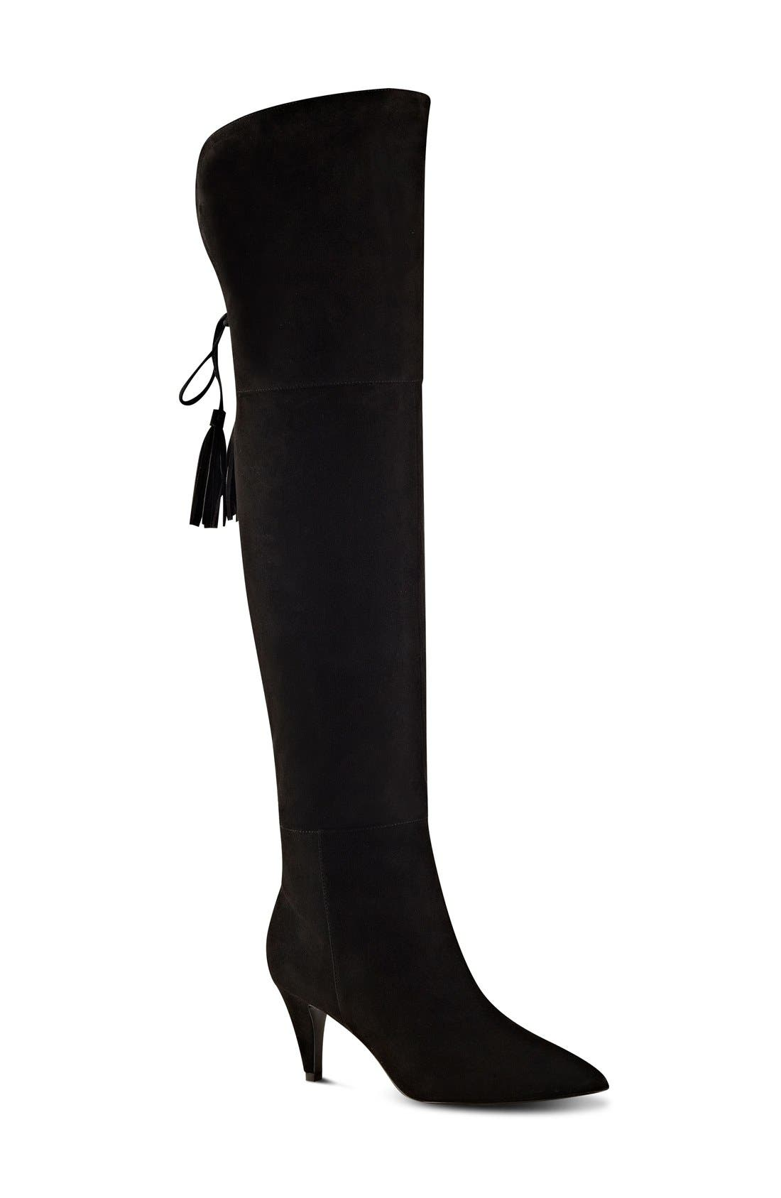 NINE WEST 'Josephine' Over the Knee Tassel Boot, Main, color, 001