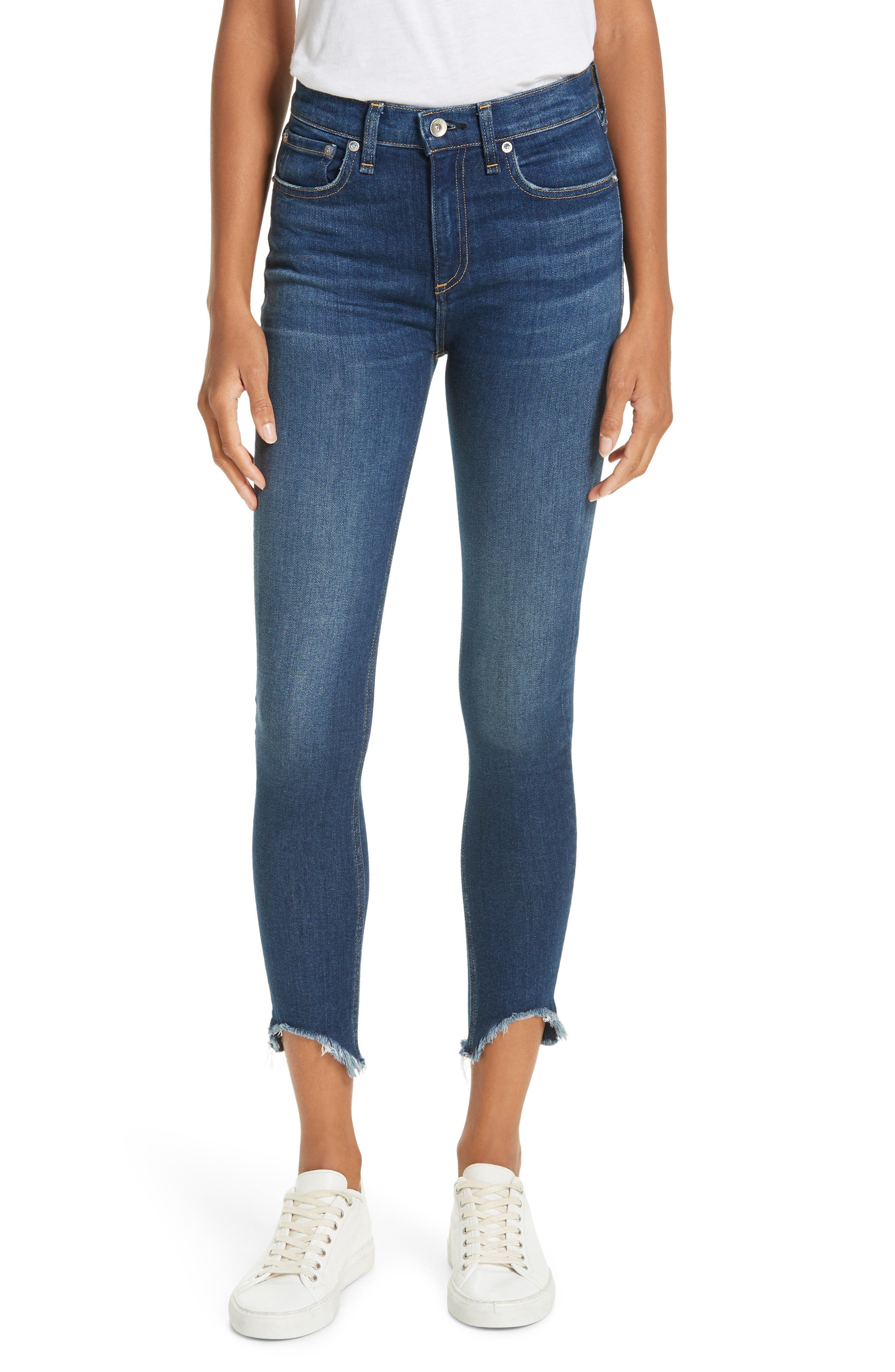 High Waist Fray Crop Skinny Jeans,                         Main,                         color, LENOX