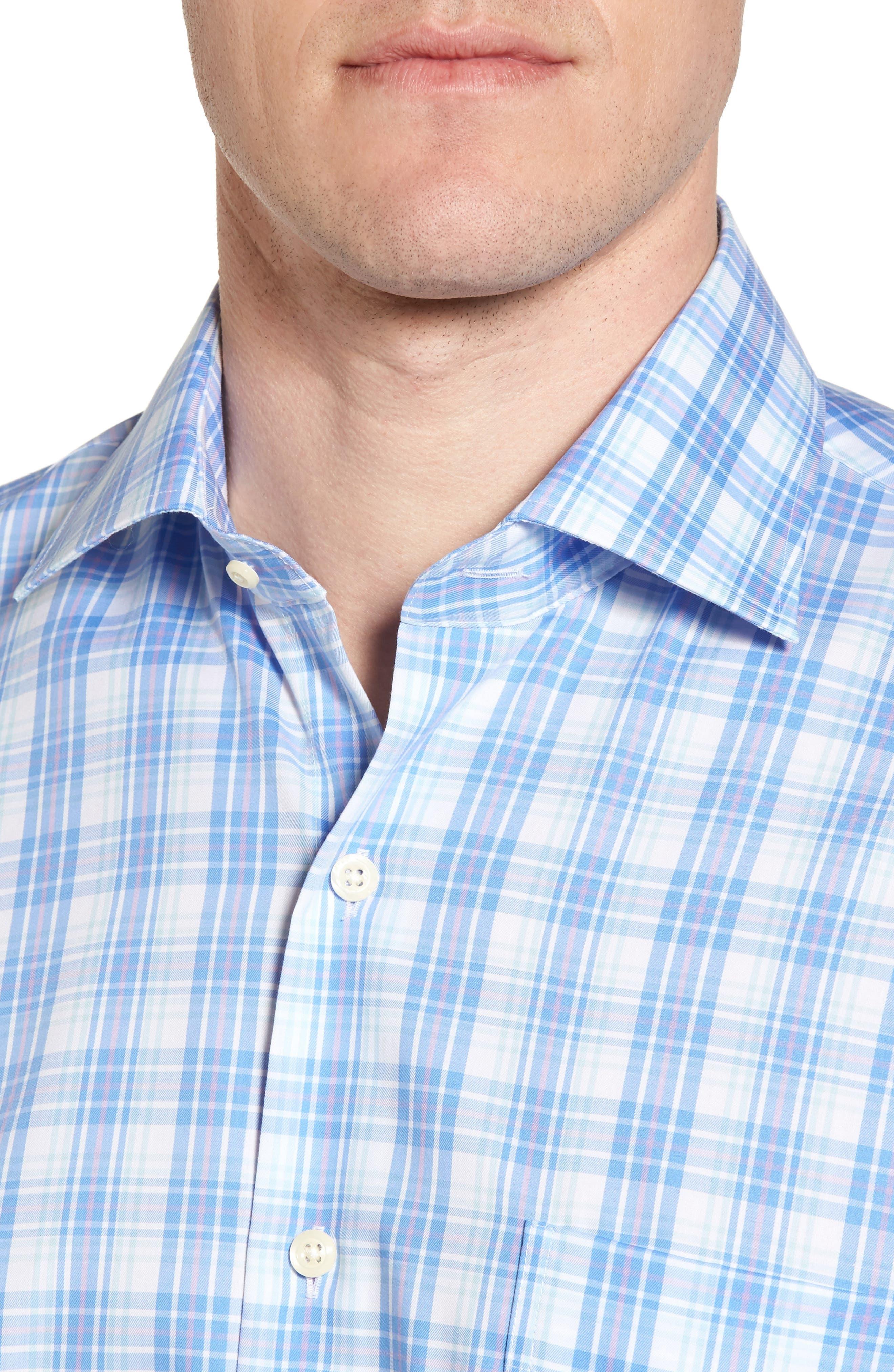 Crown Ease Sloan Regular Fit Plaid Sport Shirt,                             Alternate thumbnail 4, color,                             ATLAS BLUE