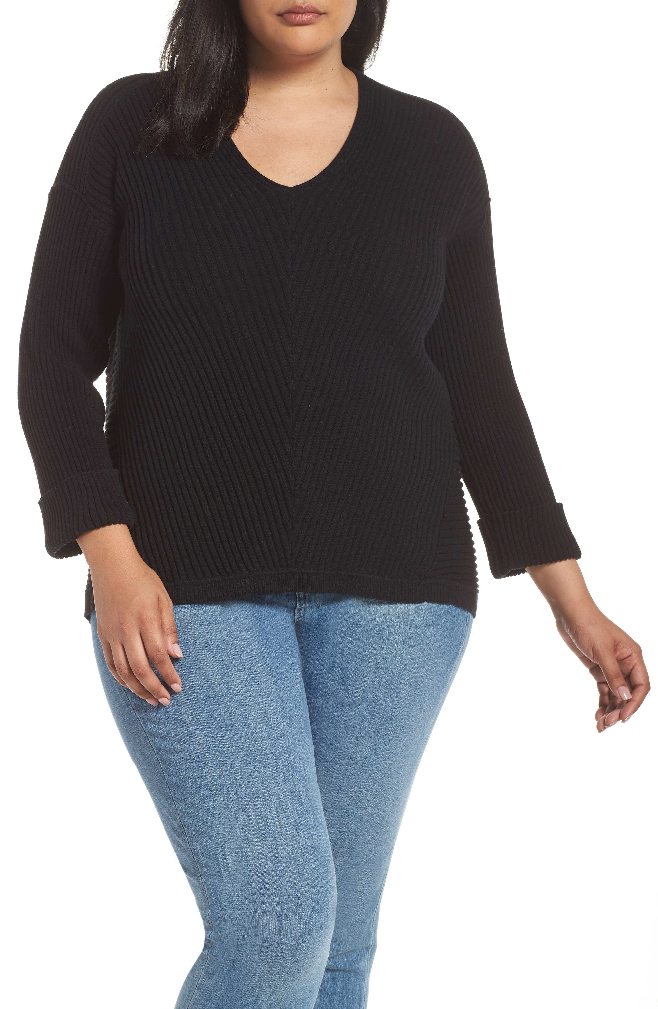 Cuff Sleeve Ribbed Sweater,                             Main thumbnail 1, color,                             BLACK