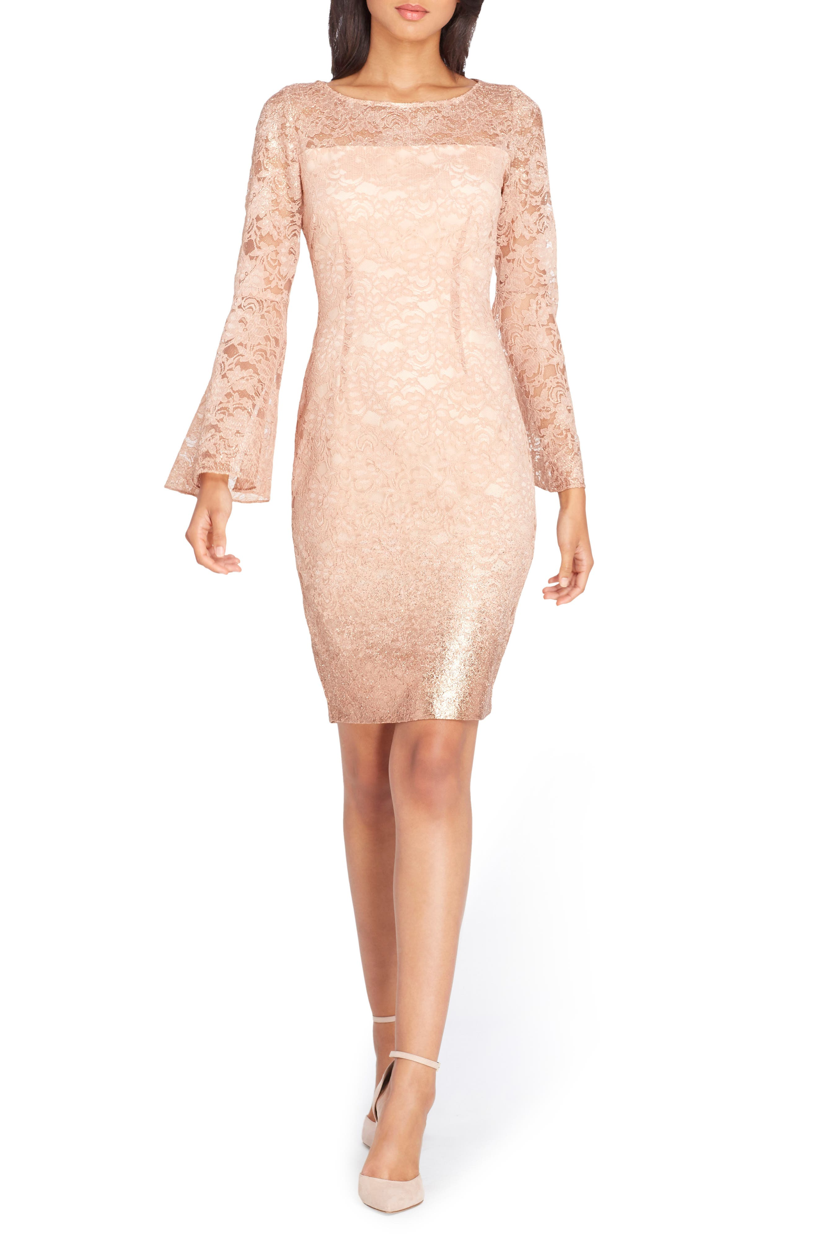 Lace Bell Sleeve Sheath Dress,                             Main thumbnail 1, color,