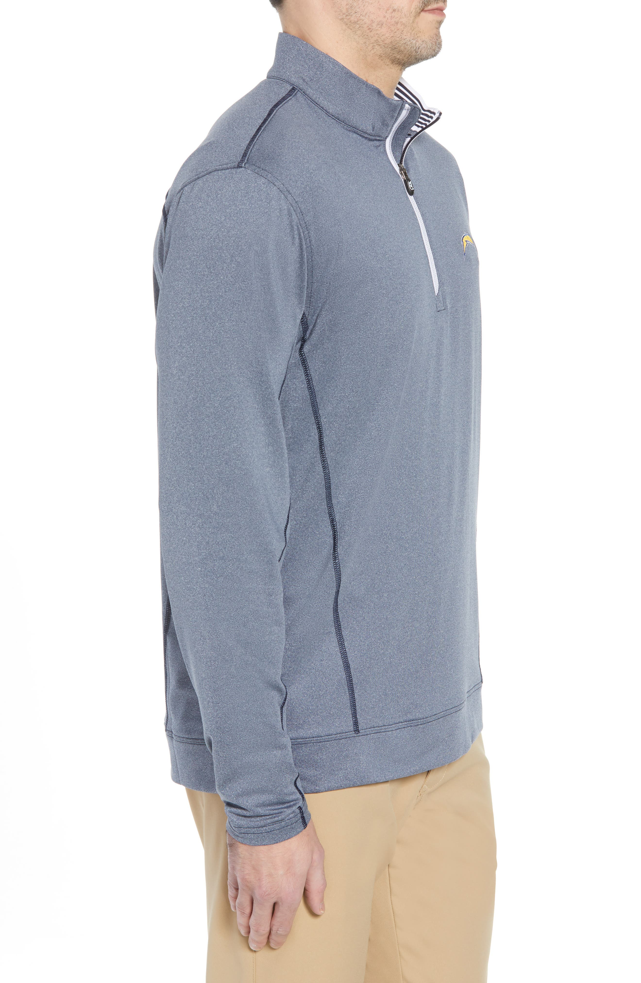 Endurance Los Angeles Chargers Regular Fit Pullover,                             Alternate thumbnail 3, color,                             LIBERTY NAVY HEATHER