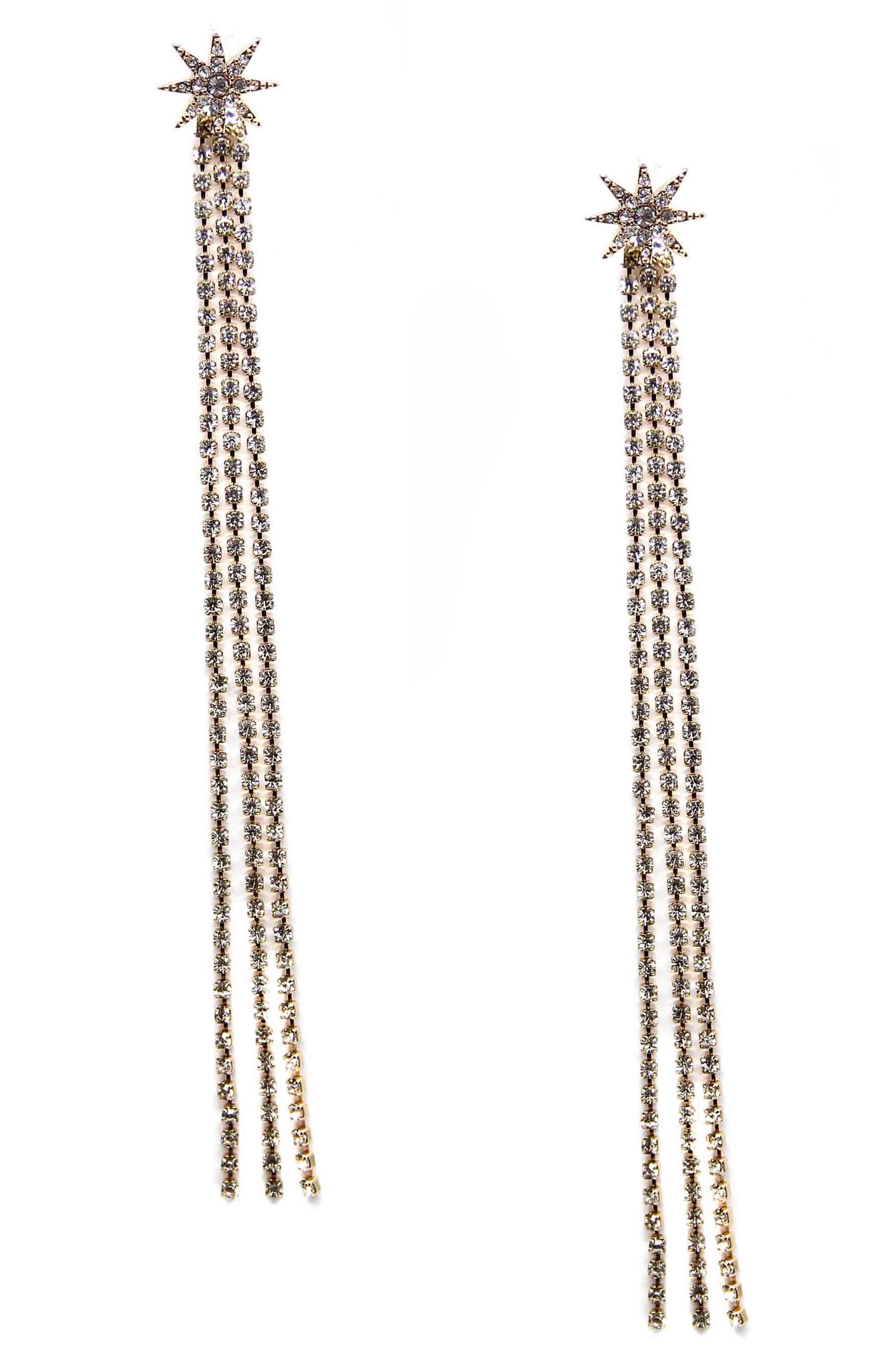 Crystal Chain Drop Earrings,                         Main,                         color, 710