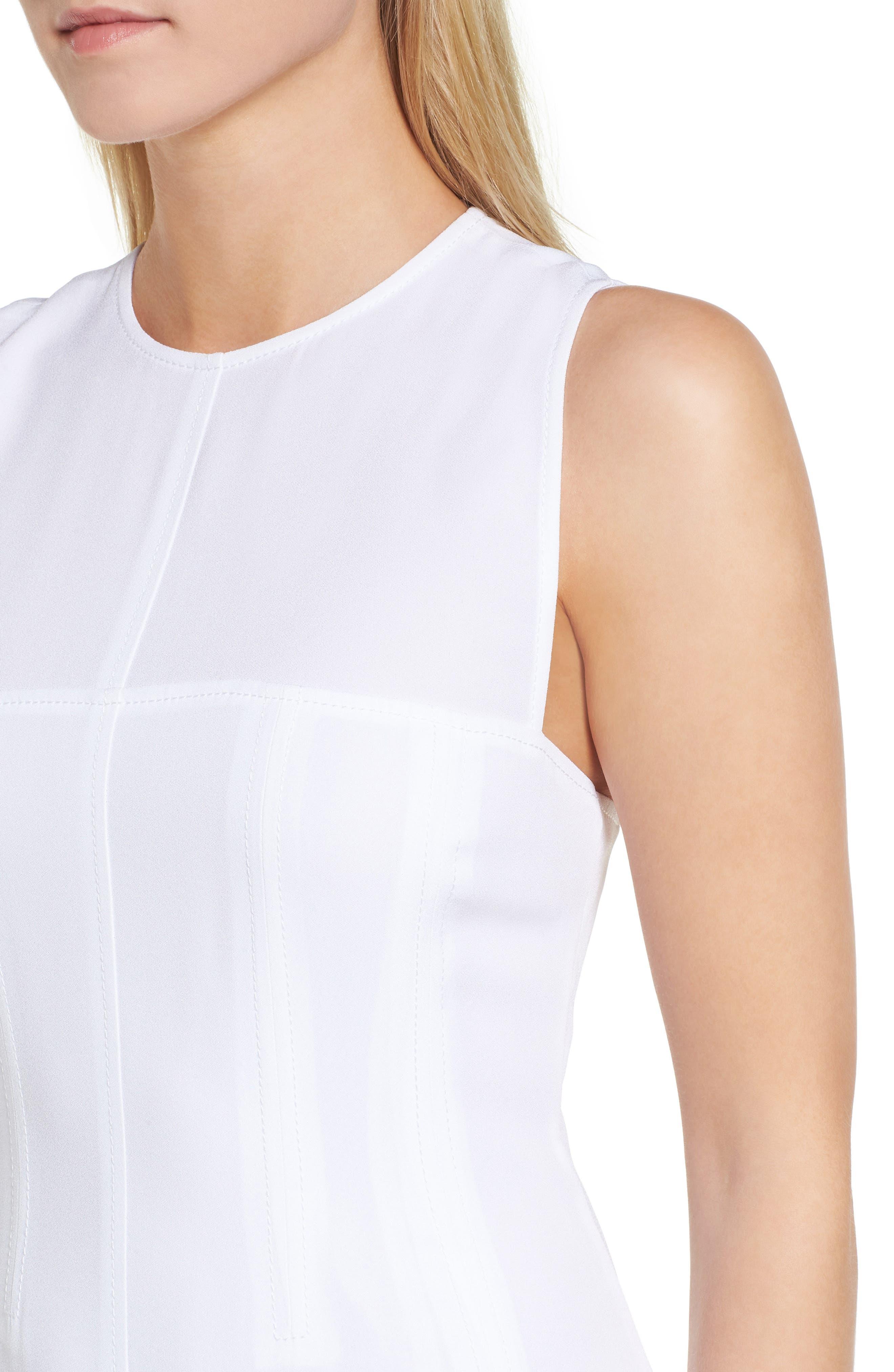 Corset Detail Midi Dress,                             Alternate thumbnail 4, color,                             100