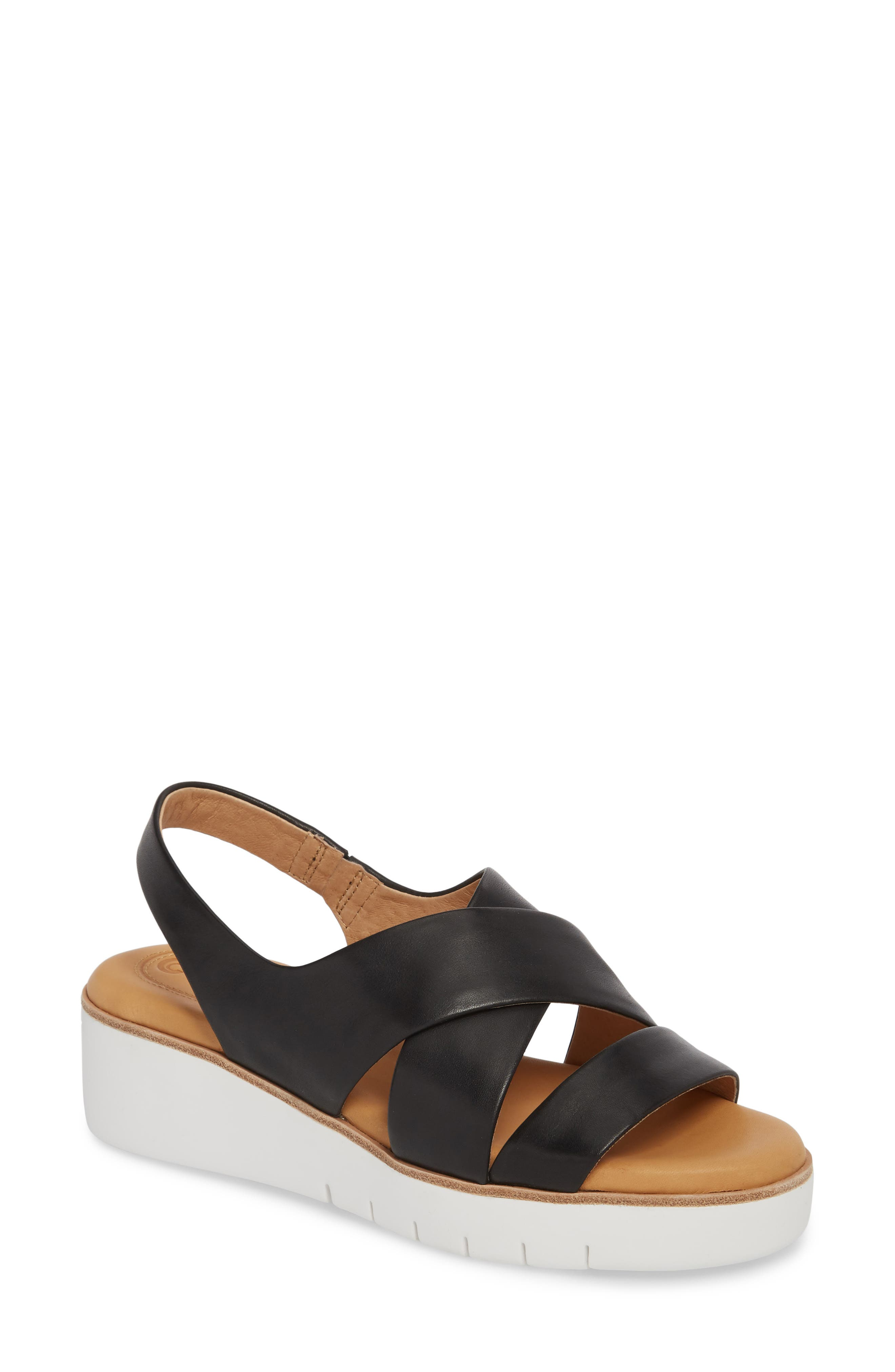 Brinney Wedge Sandal,                         Main,                         color, BLACK LEATHER