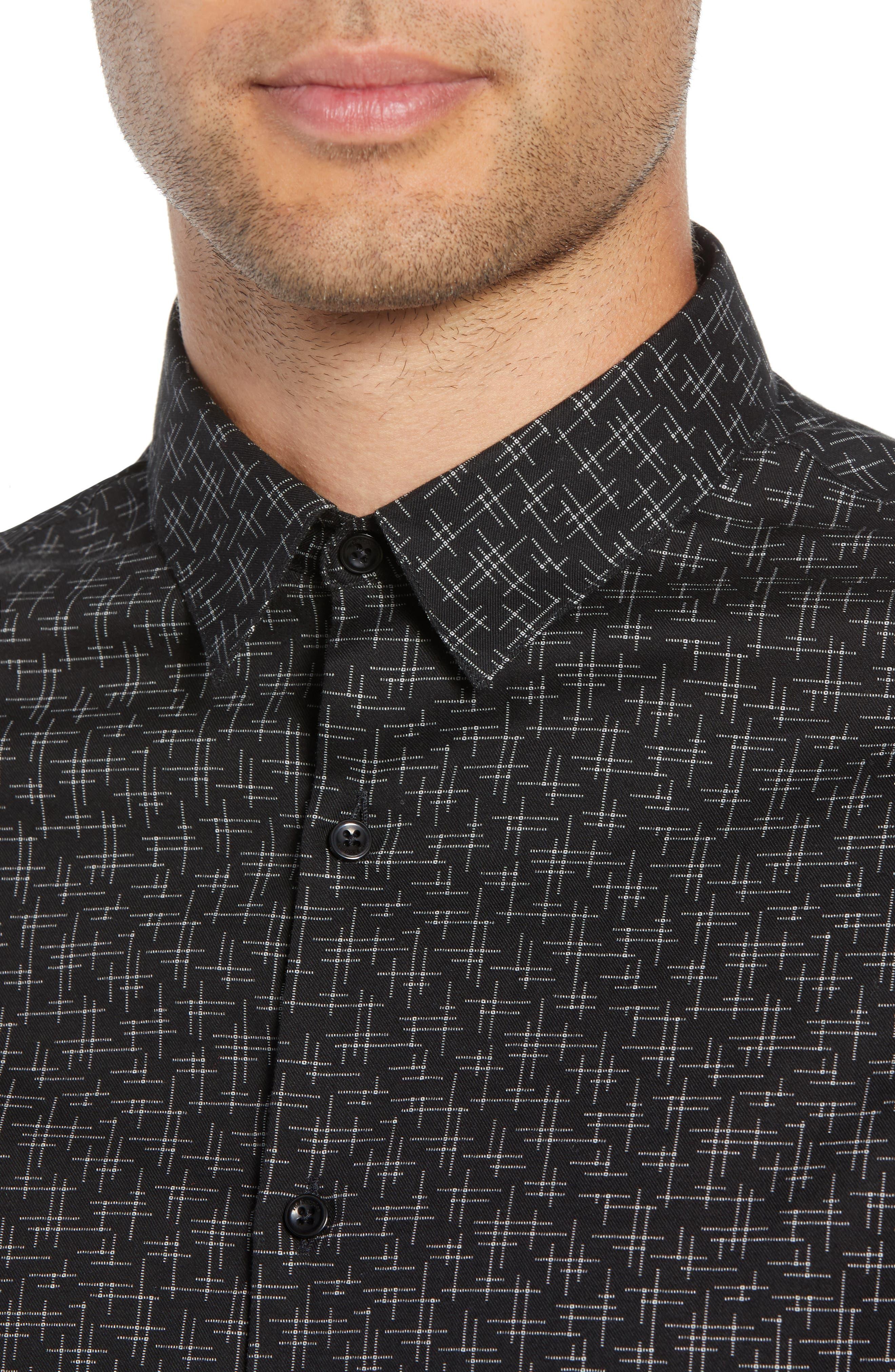 Slim Fit Print Shirt,                             Alternate thumbnail 2, color,                             BLACK/ GREY