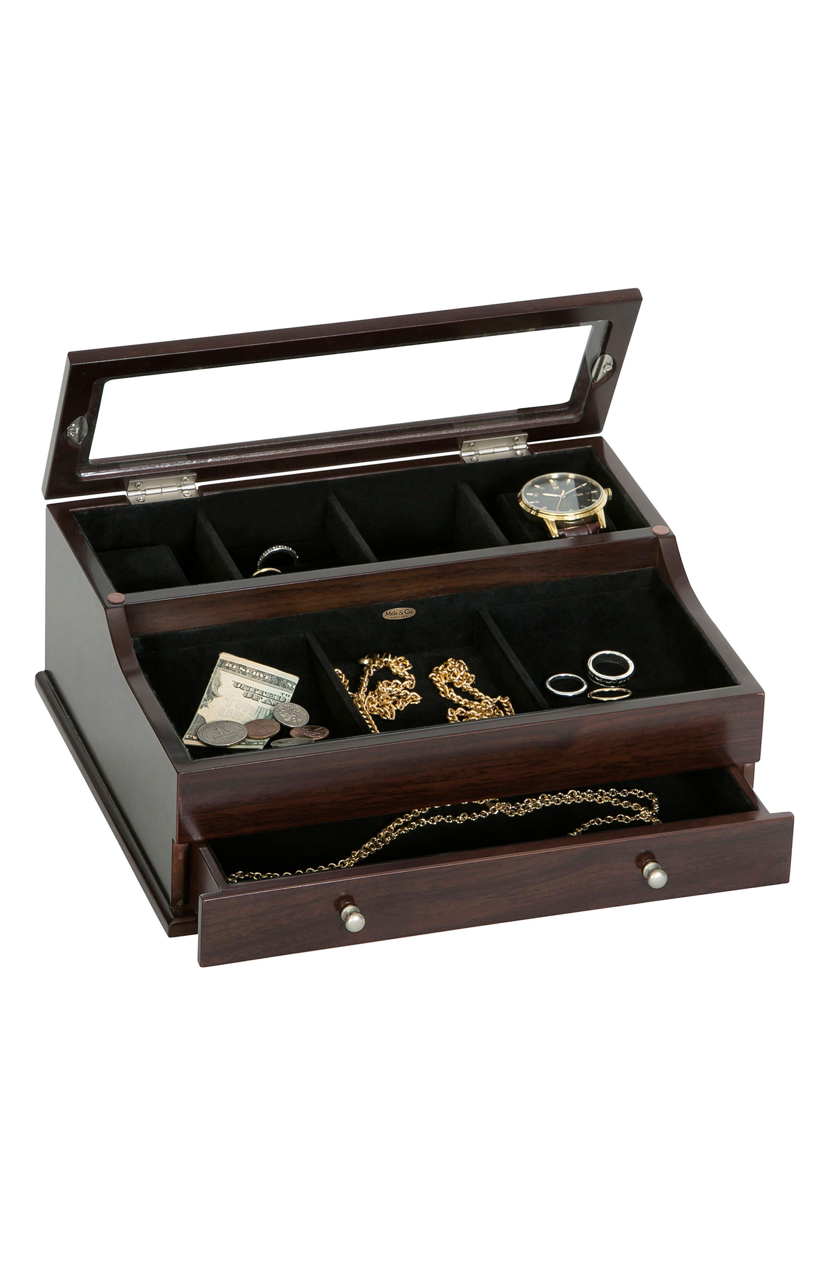 Hampden Glass Top Valet Box,                             Alternate thumbnail 2, color,                             BROWN