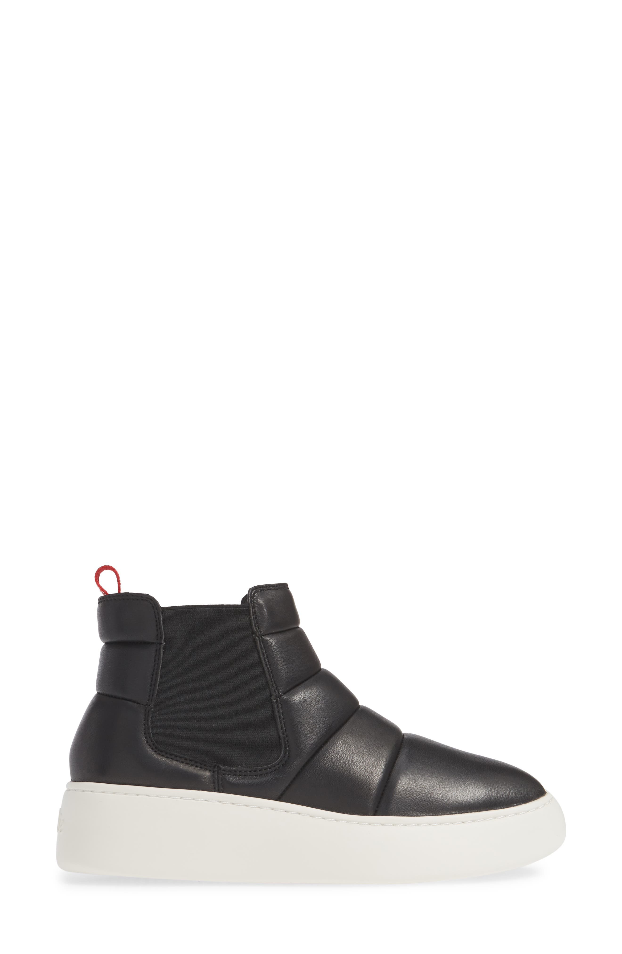 Snow City Quilted Chelsea Sneaker Boot,                             Alternate thumbnail 3, color,                             BLACK NAPPA