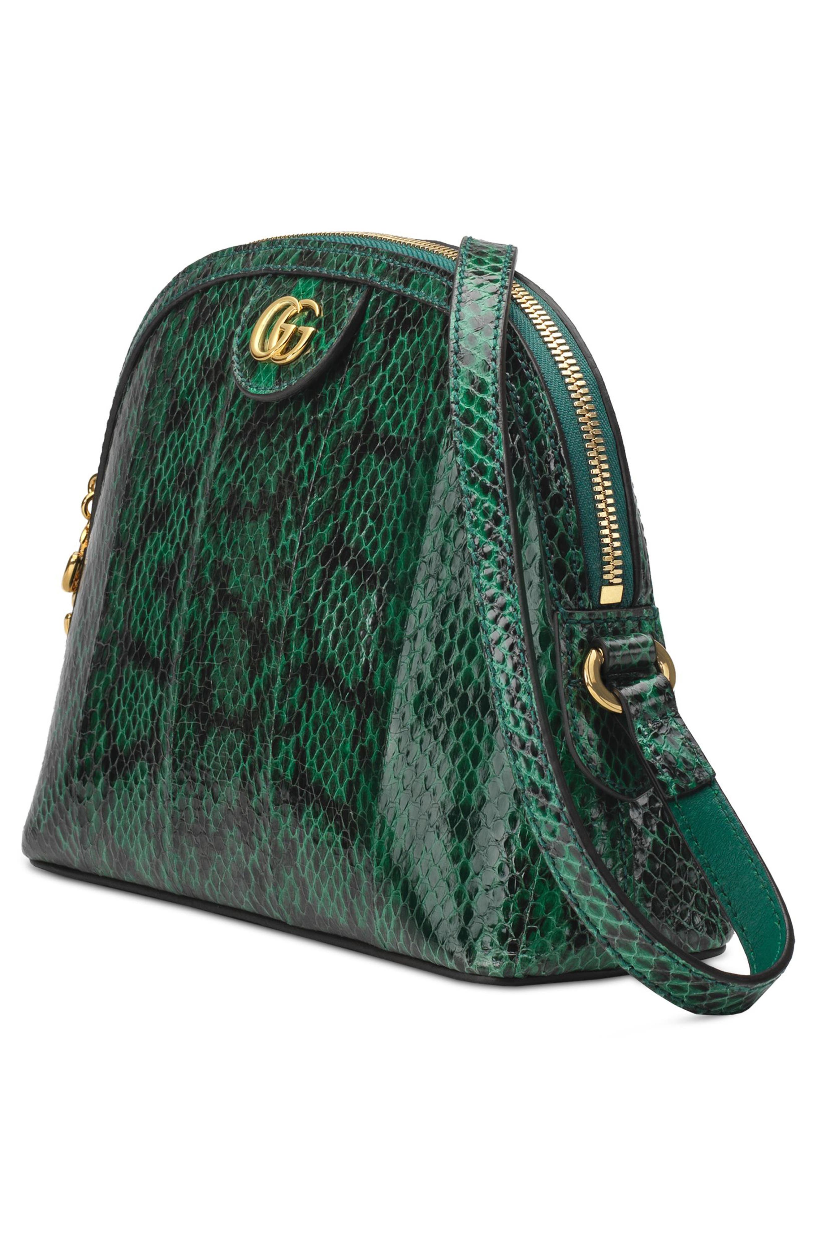 Small Ophidia Genuine Snakeskin Dome Satchel,                             Alternate thumbnail 4, color,                             EMERALD