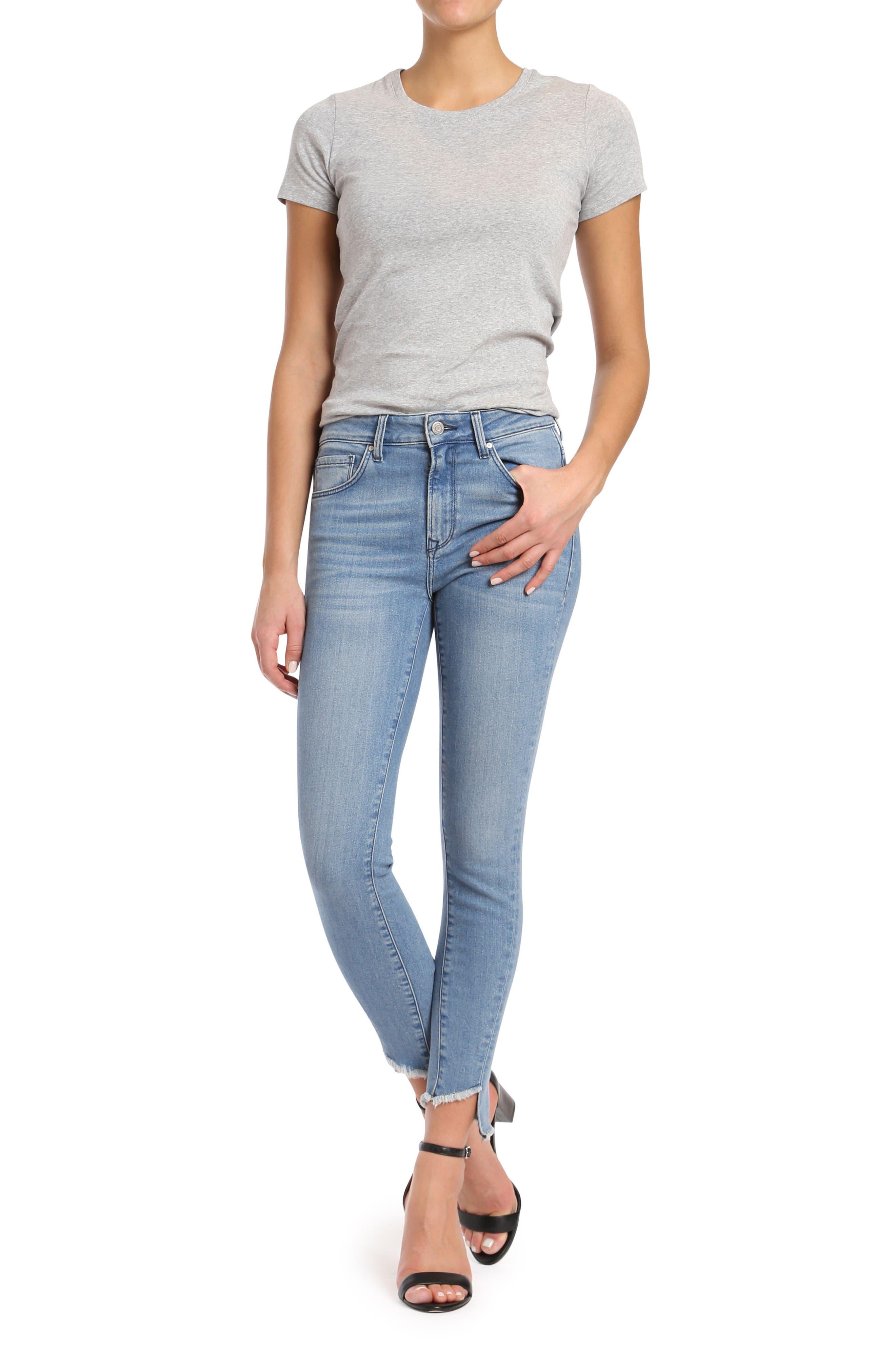 Tess Twisted Step Hem Skinny Jeans,                             Alternate thumbnail 5, color,                             400