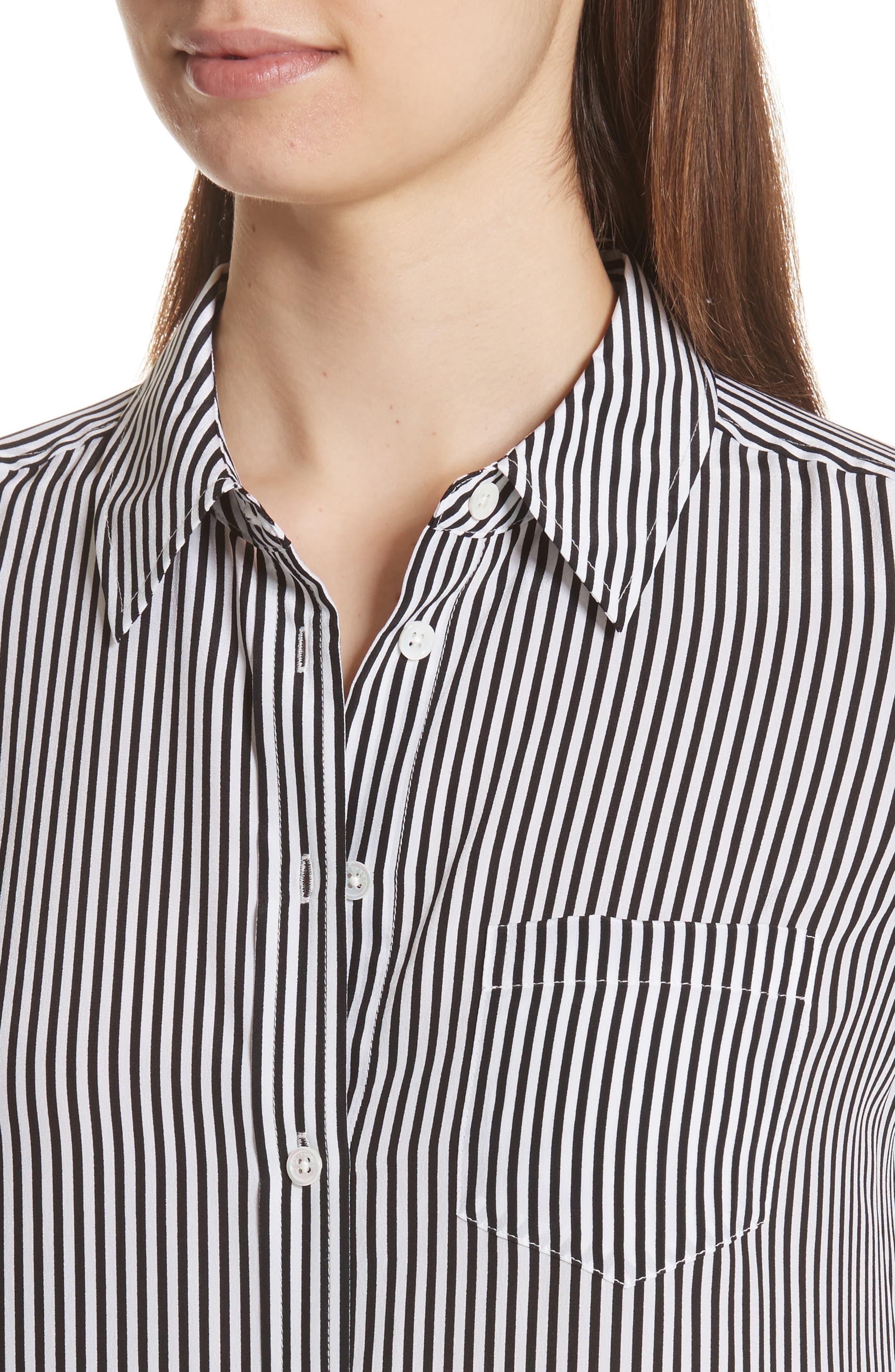 Brett Stripe Silk Shirtdress,                             Alternate thumbnail 4, color,                             002