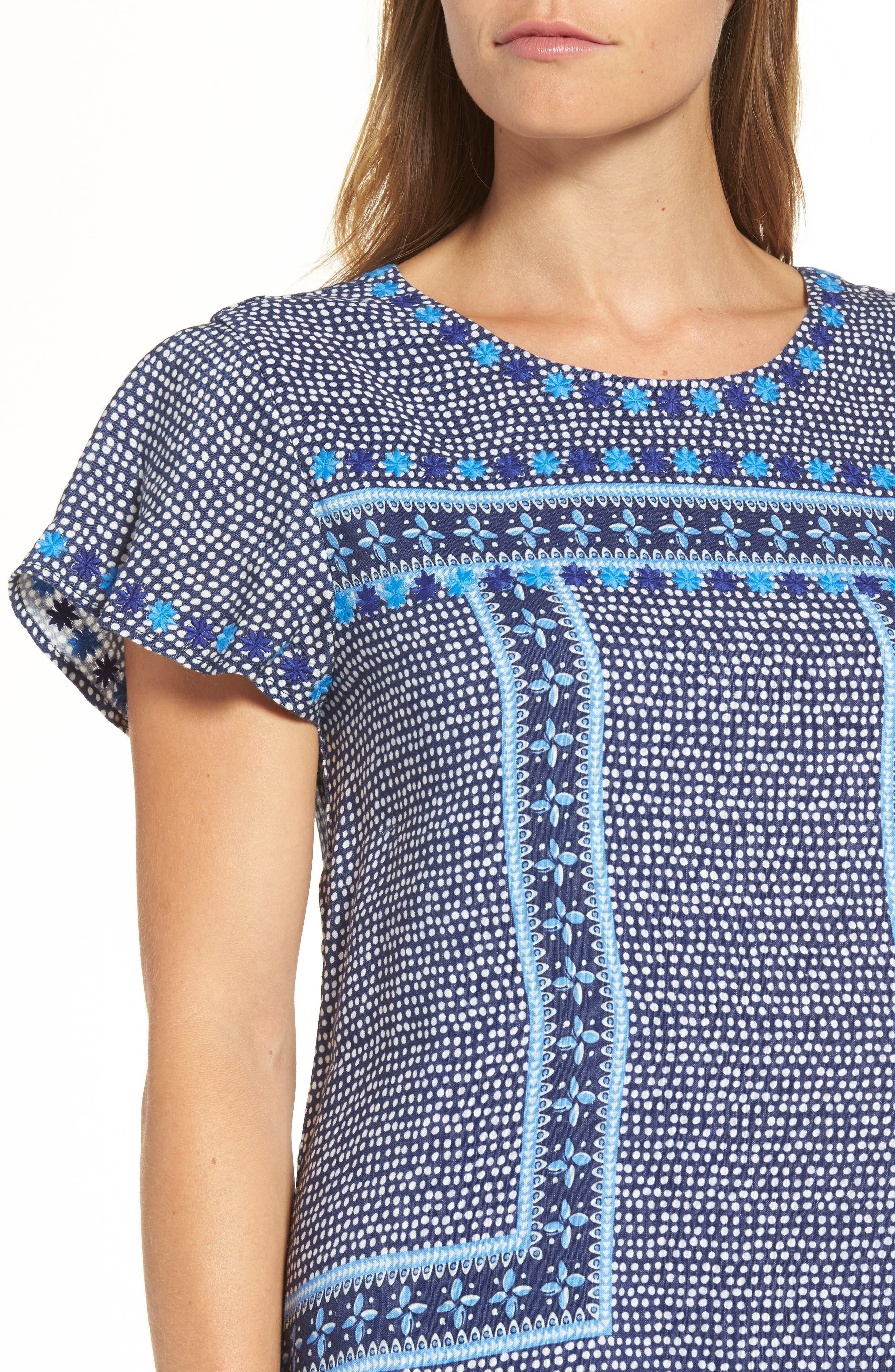 Dot Border Shift Dress,                             Alternate thumbnail 4, color,                             476