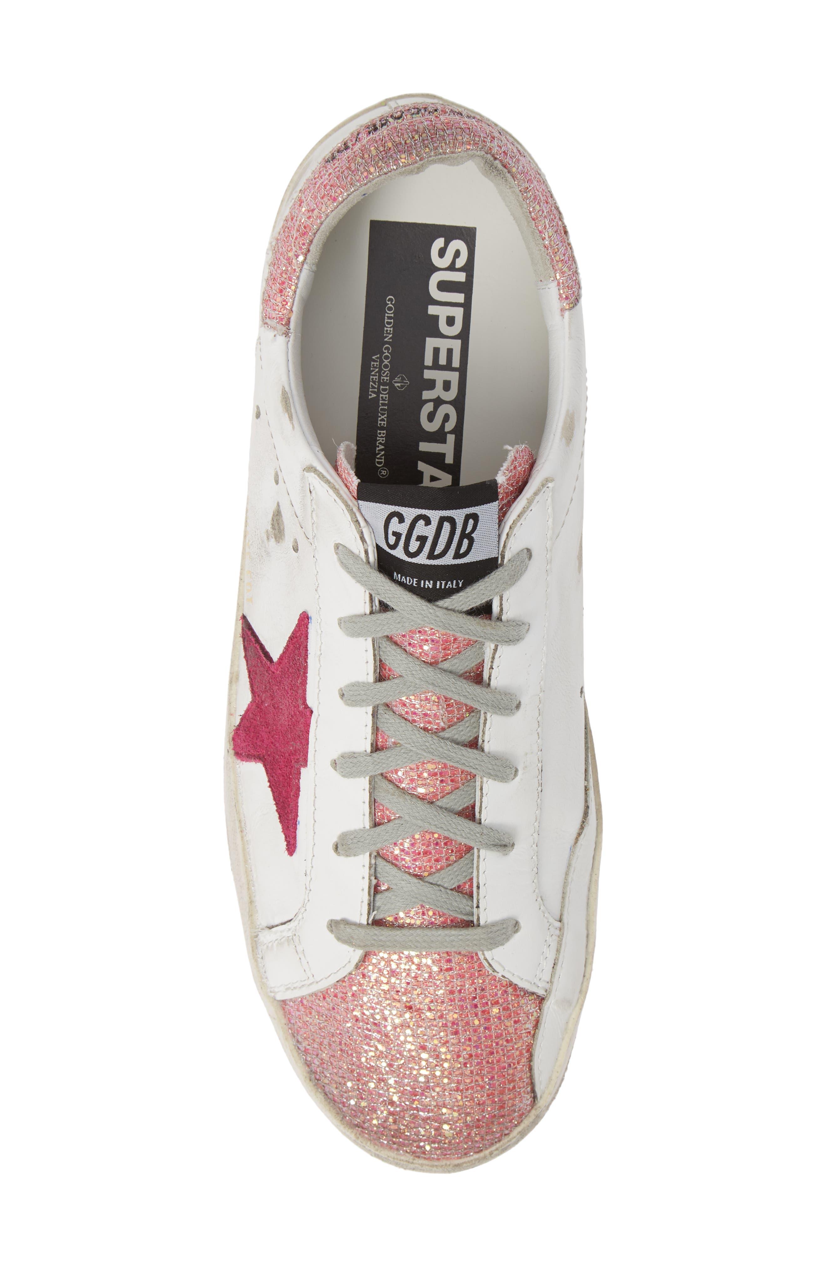 Superstar Sneaker,                             Alternate thumbnail 5, color,                             WHITE/ PINK