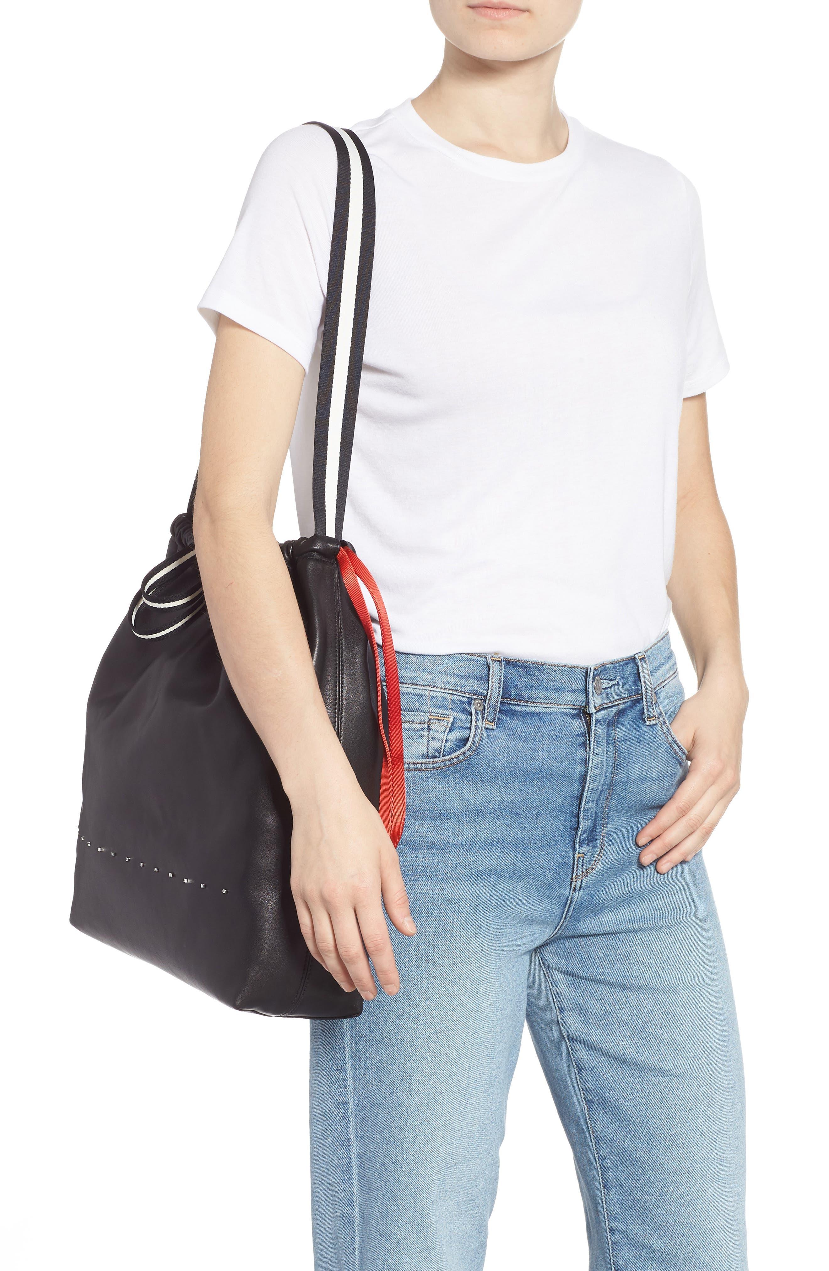 Wefty Drawstring Bucket Bag,                             Alternate thumbnail 2, color,                             BLACK