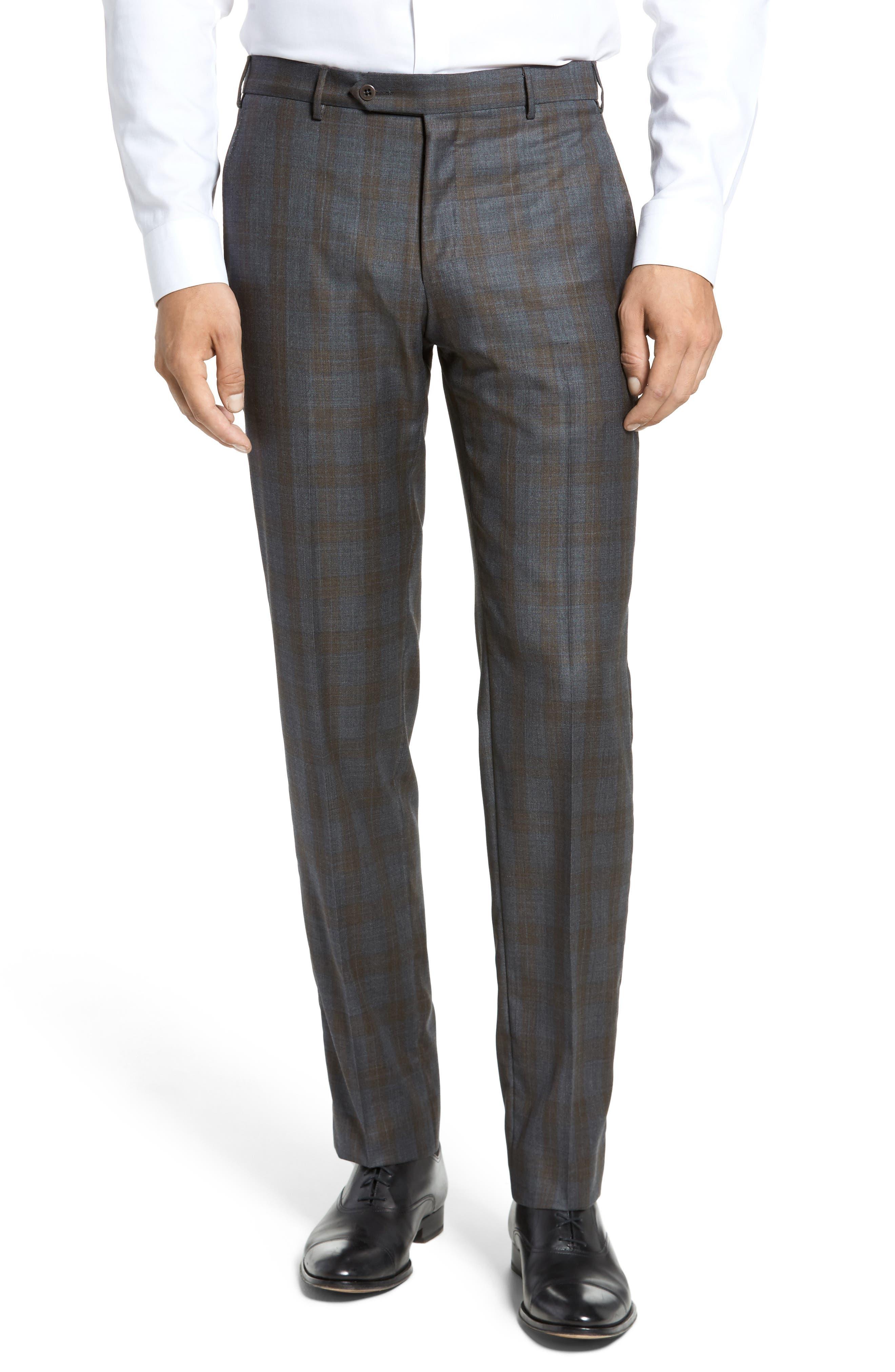 Parker Flat Front Plaid Wool Trousers,                             Main thumbnail 1, color,                             021