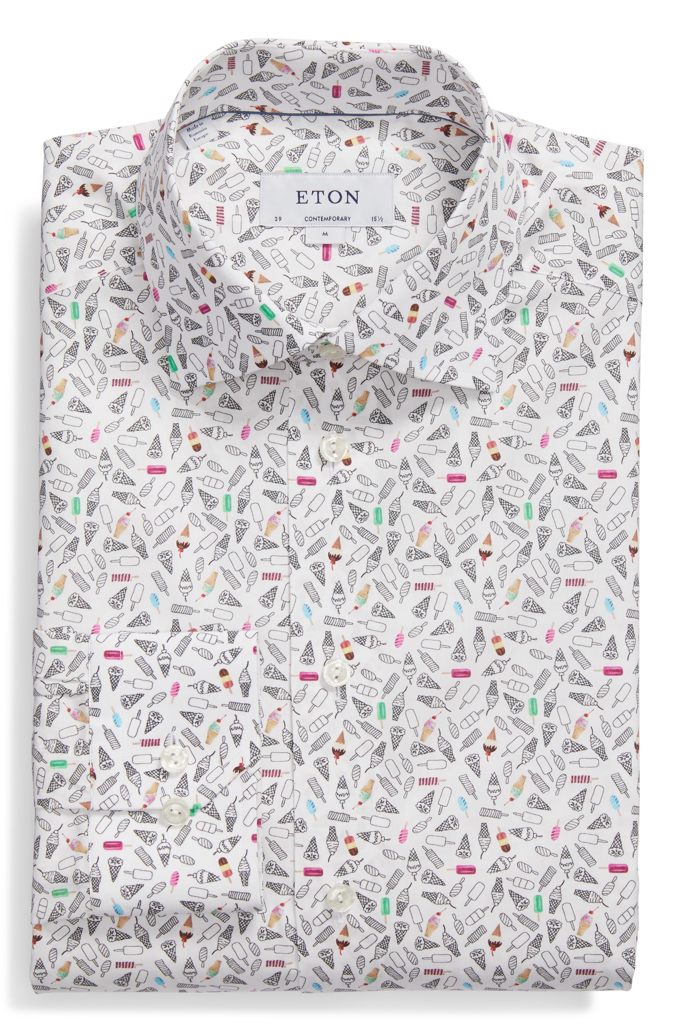 Contemporary Fit Print Dress Shirt,                             Alternate thumbnail 5, color,                             WHITE