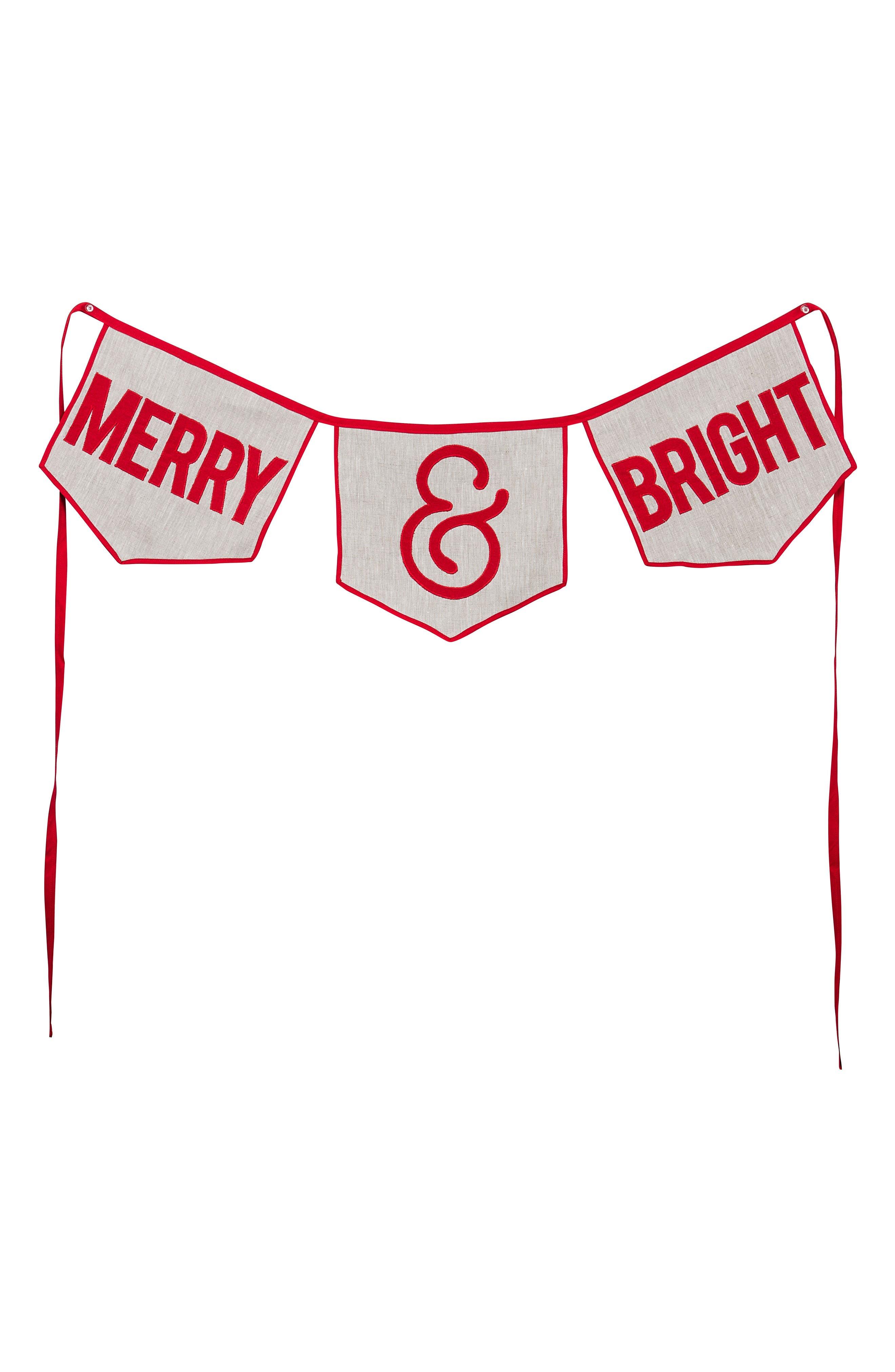 Merry & Bright Burlap Banner, Main, color, 900