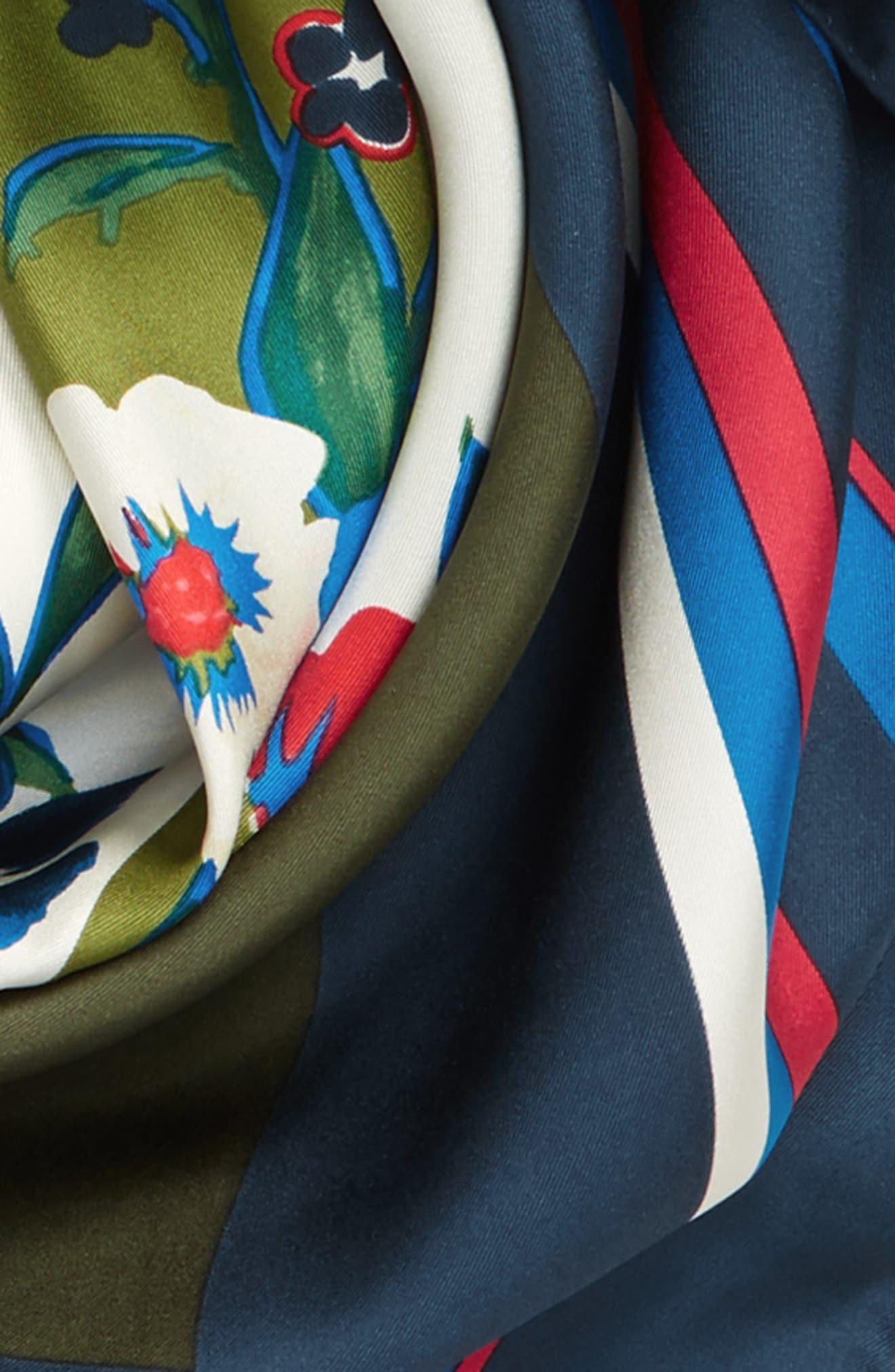Paisley Bouquet Silk Square Scarf,                             Alternate thumbnail 3, color,                             400