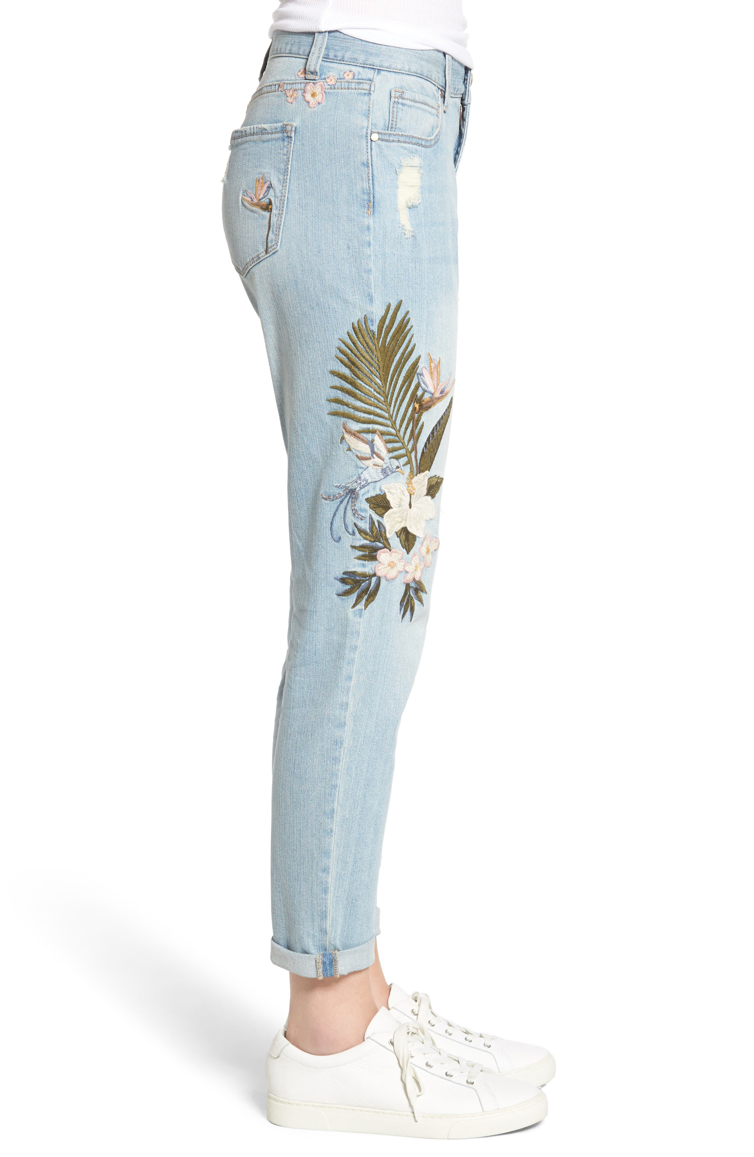Floral Embroidered Boyfriend Jeans,                             Alternate thumbnail 3, color,                             430