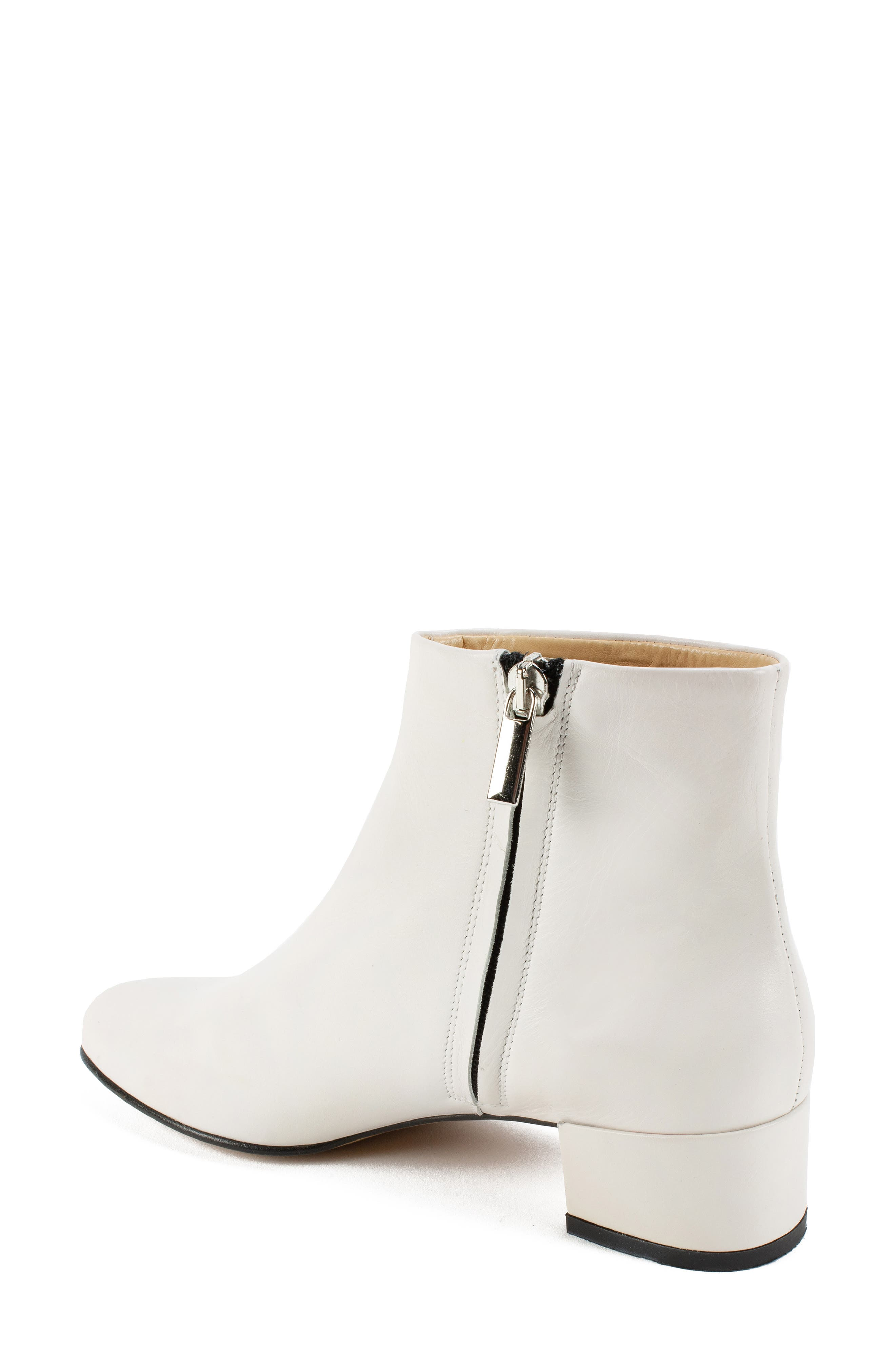 by White Mountain Jordie Block Heel Bootie,                             Alternate thumbnail 2, color,                             WHITE LEATHER