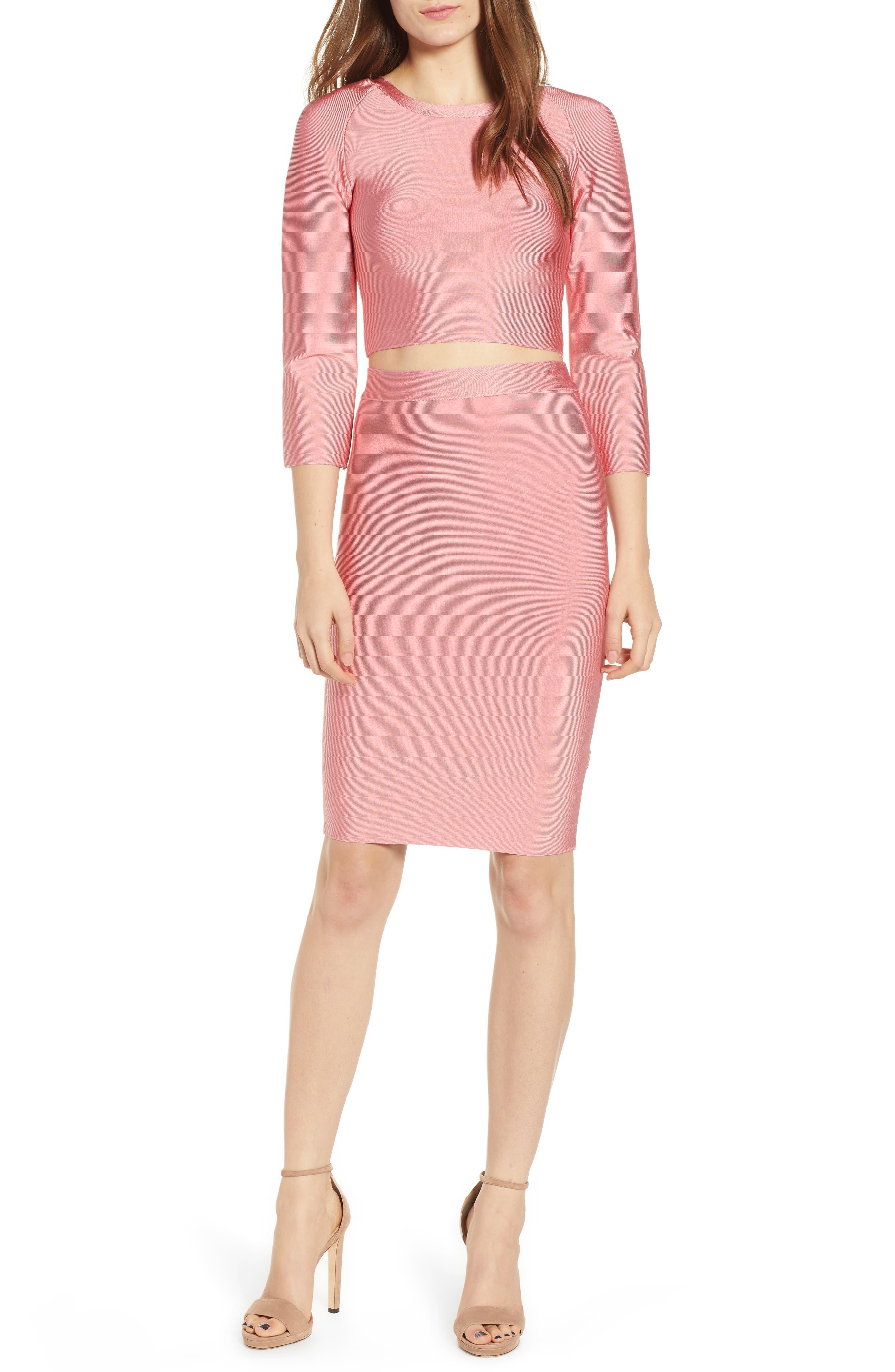 Two-Piece Body-Con Dress,                         Main,                         color, SALMON