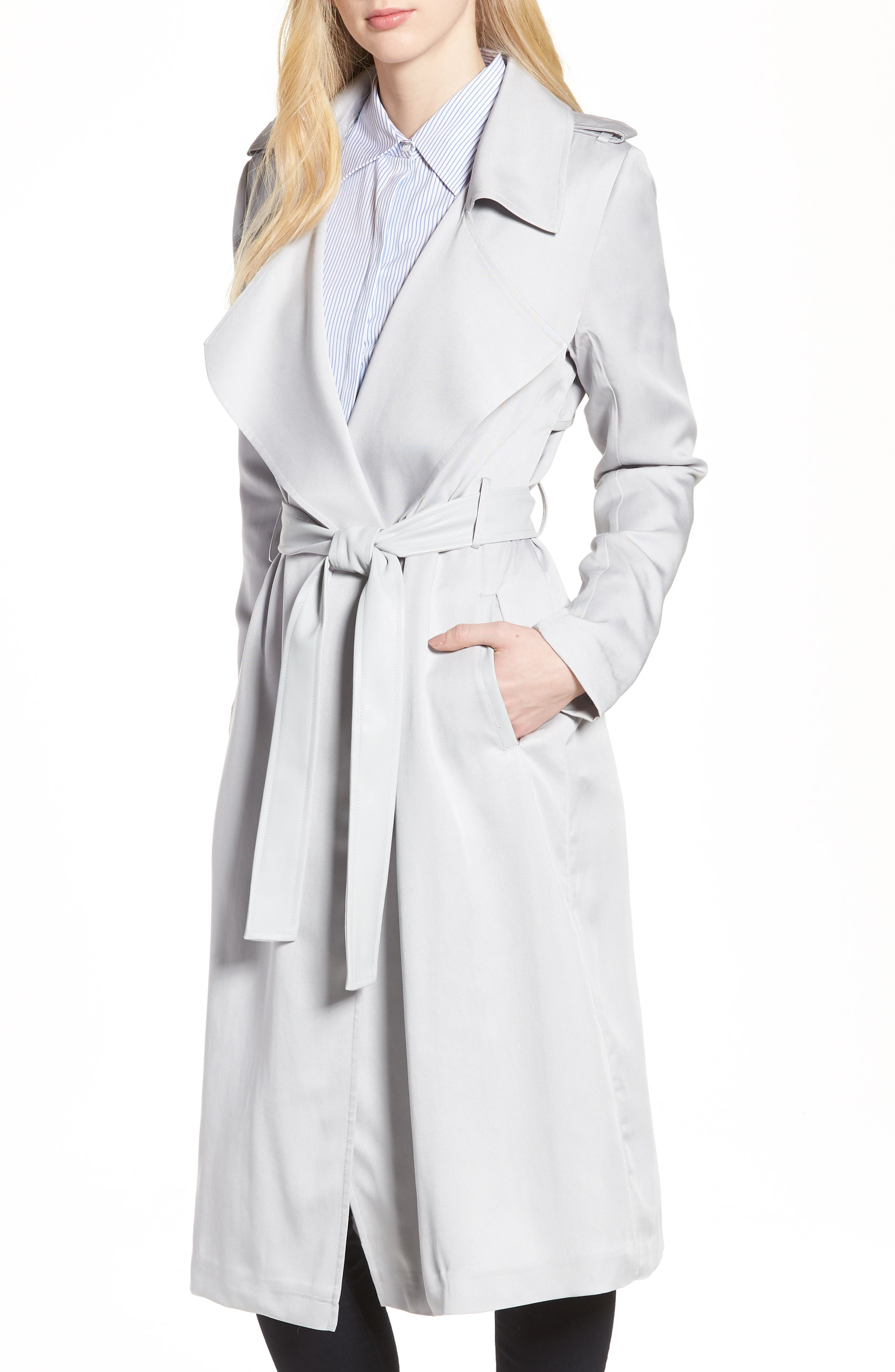 Badgley Mischka Faux Leather Trim Long Trench Coat,                             Main thumbnail 1, color,                             020