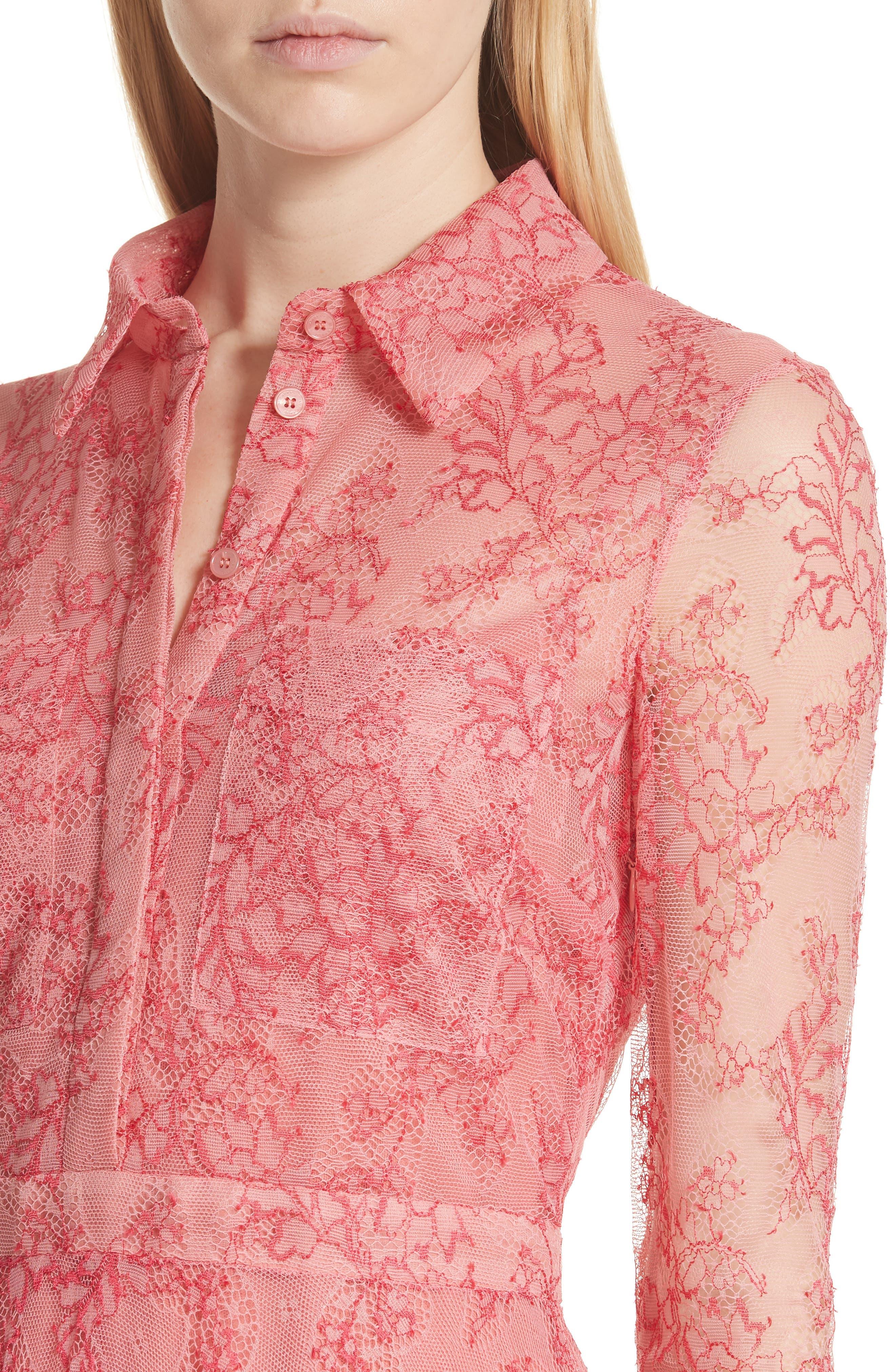 Clementine Floral Lace Midi Dress,                             Alternate thumbnail 4, color,                             956