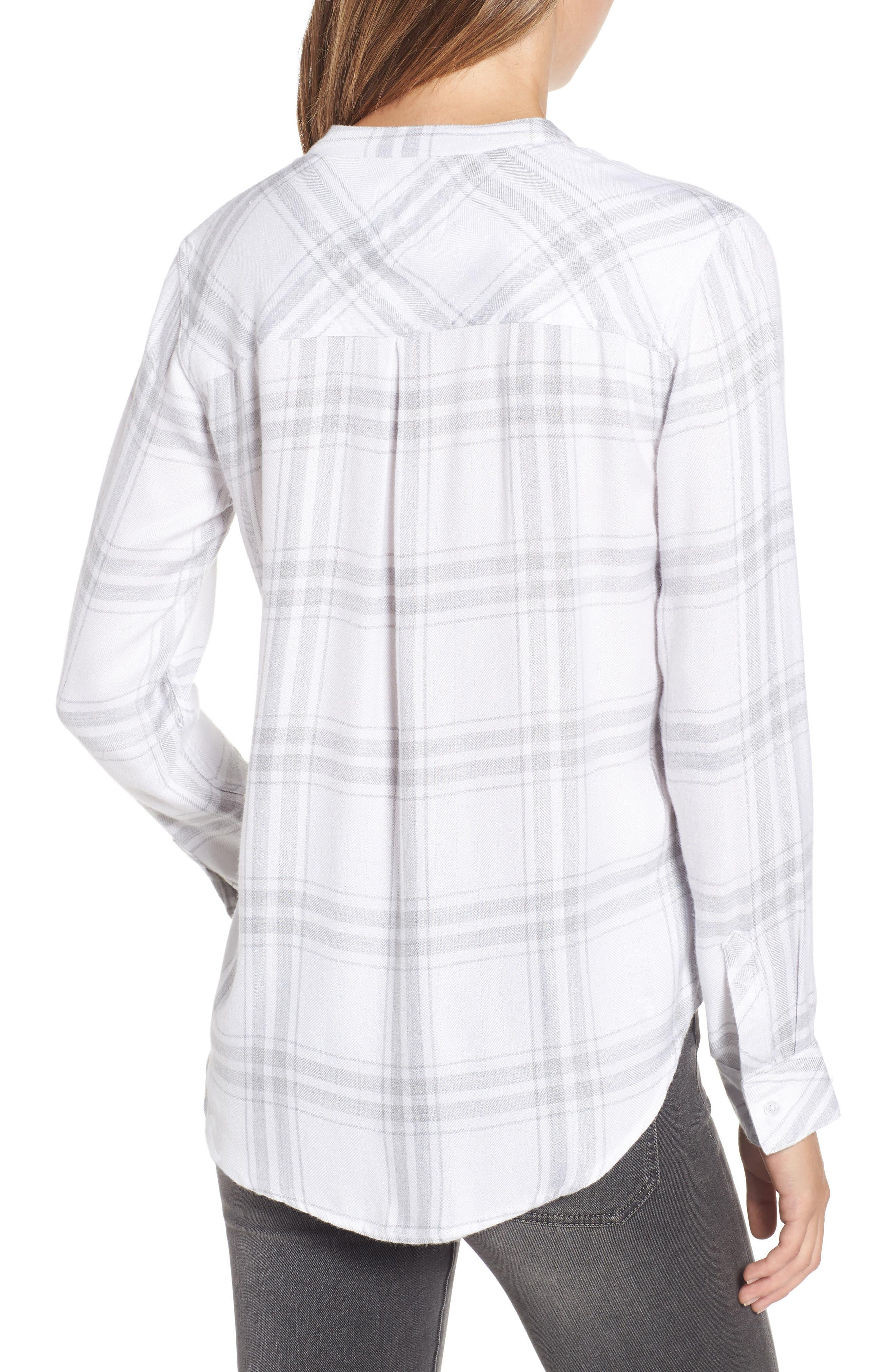 Allison Plaid Shirt,                             Alternate thumbnail 2, color,                             WHITE SILVER