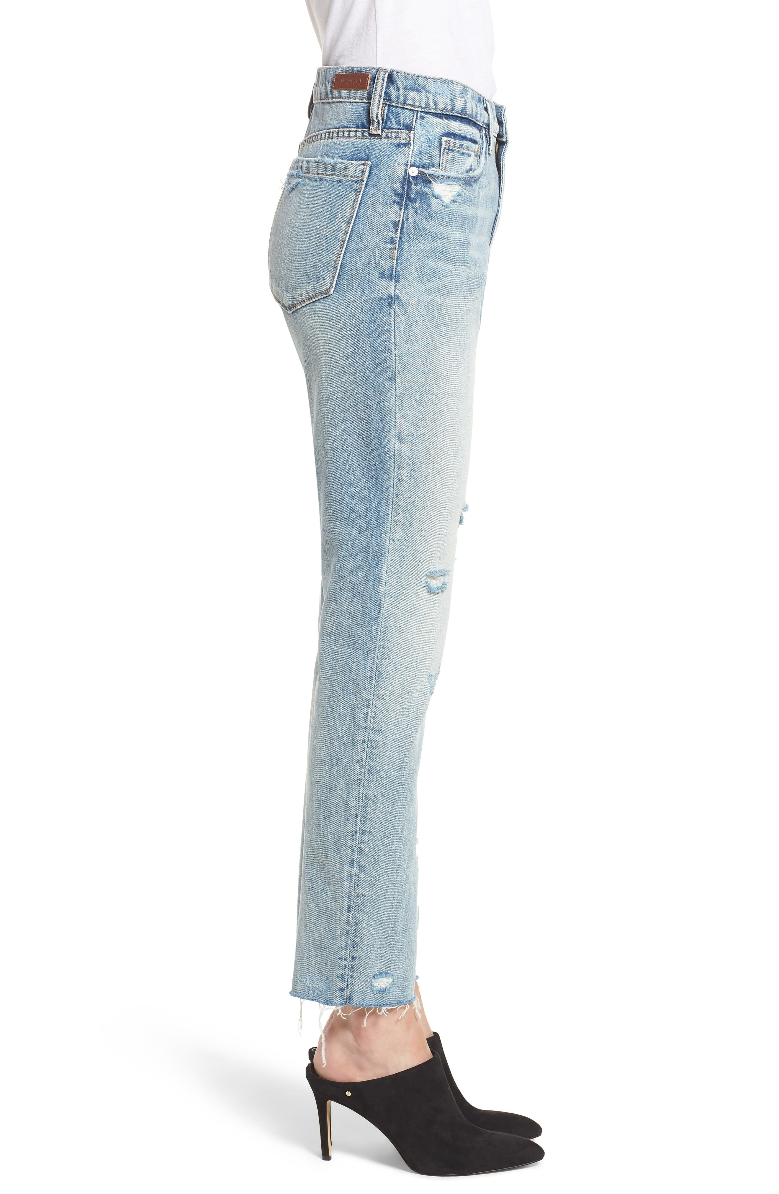 Distressed Rigid Straight Leg Jeans,                             Alternate thumbnail 3, color,                             400
