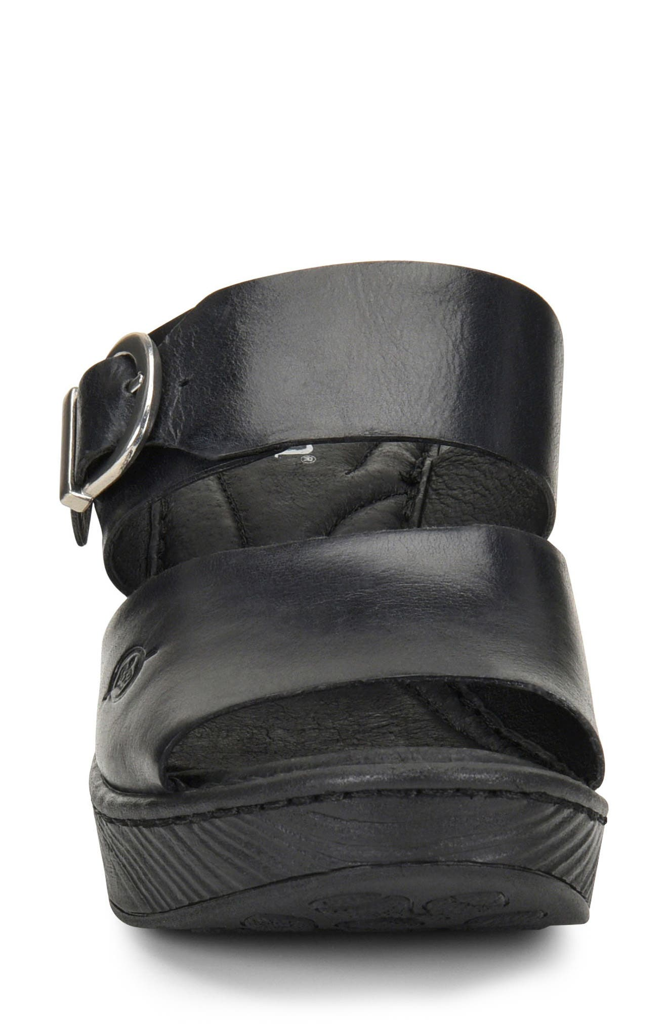 Carrabelle Platform Sandal,                             Alternate thumbnail 4, color,                             BLACK LEATHER