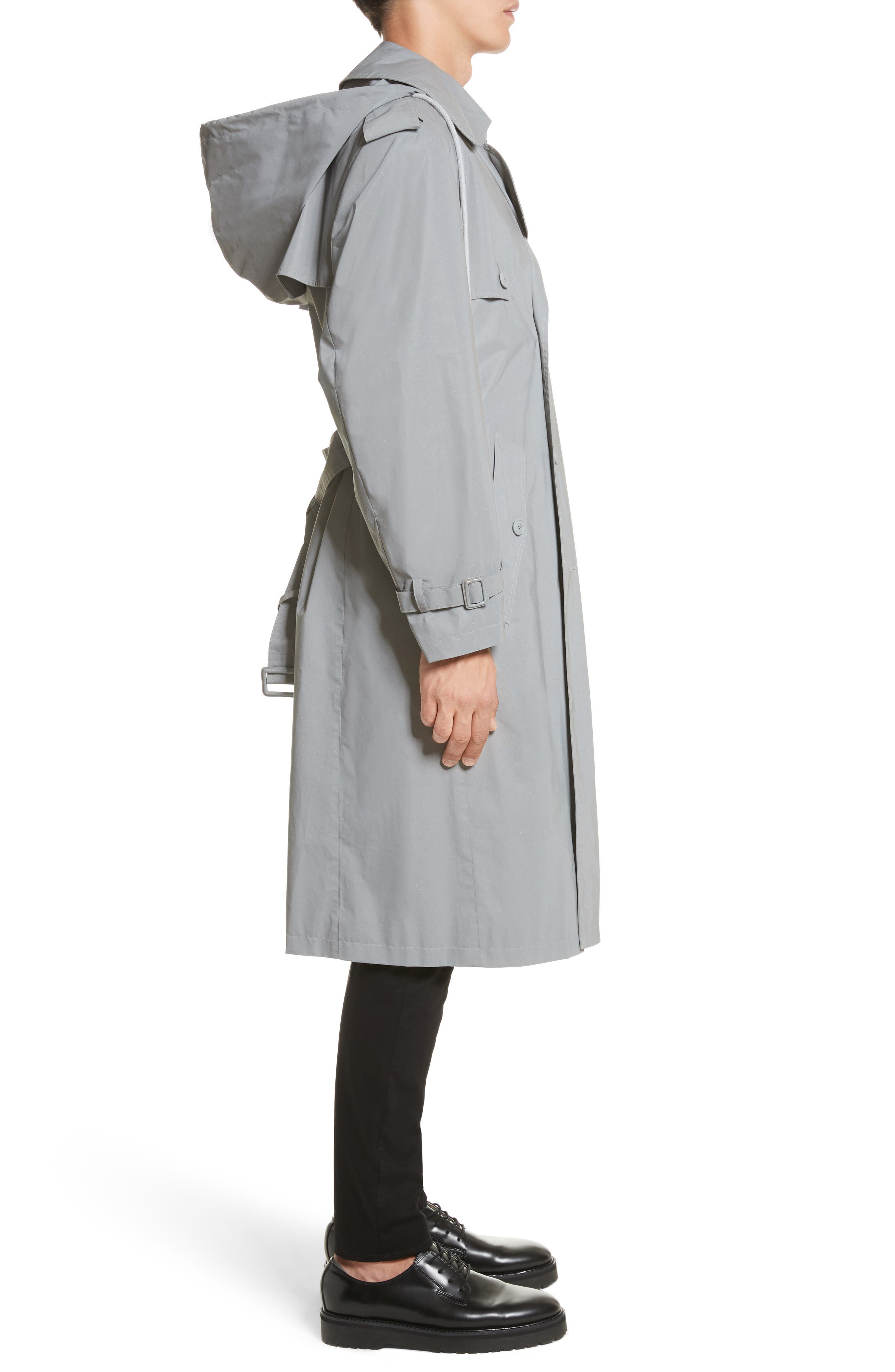 Reflective Hooded Trench Coat,                             Alternate thumbnail 4, color,