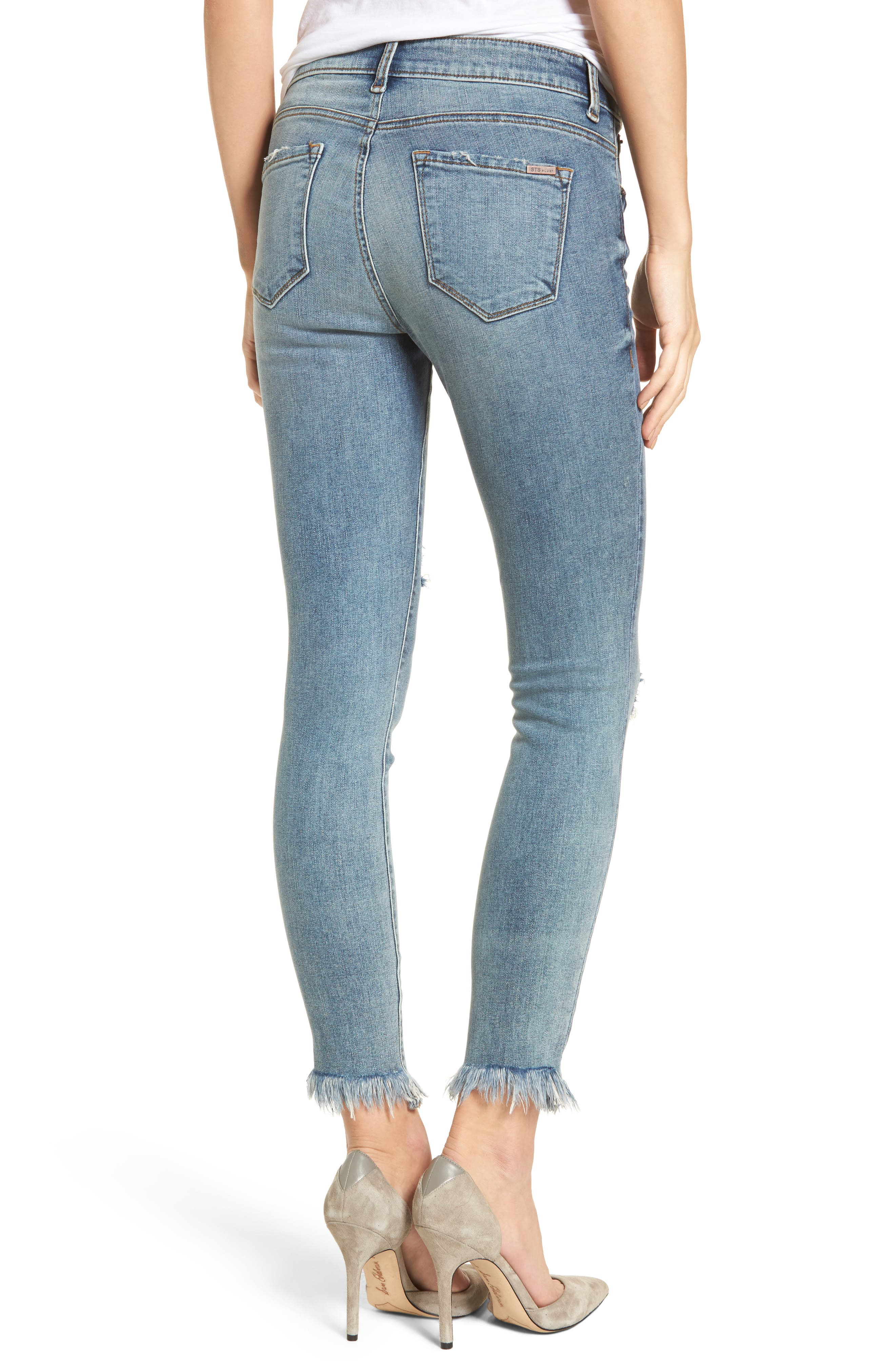 Exaggerated Hem Skinny Jeans,                             Alternate thumbnail 2, color,                             400