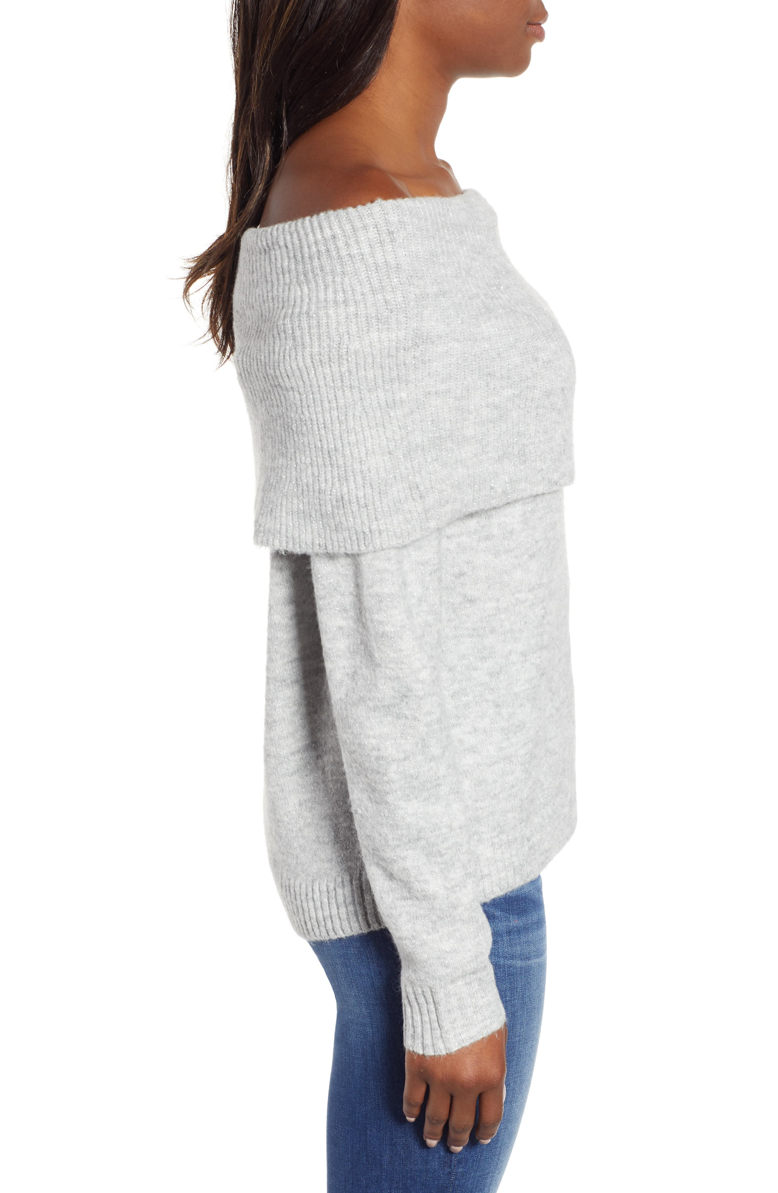 Convertible Cowl Neck Sweater,                             Alternate thumbnail 4, color,                             GREY HEATHER