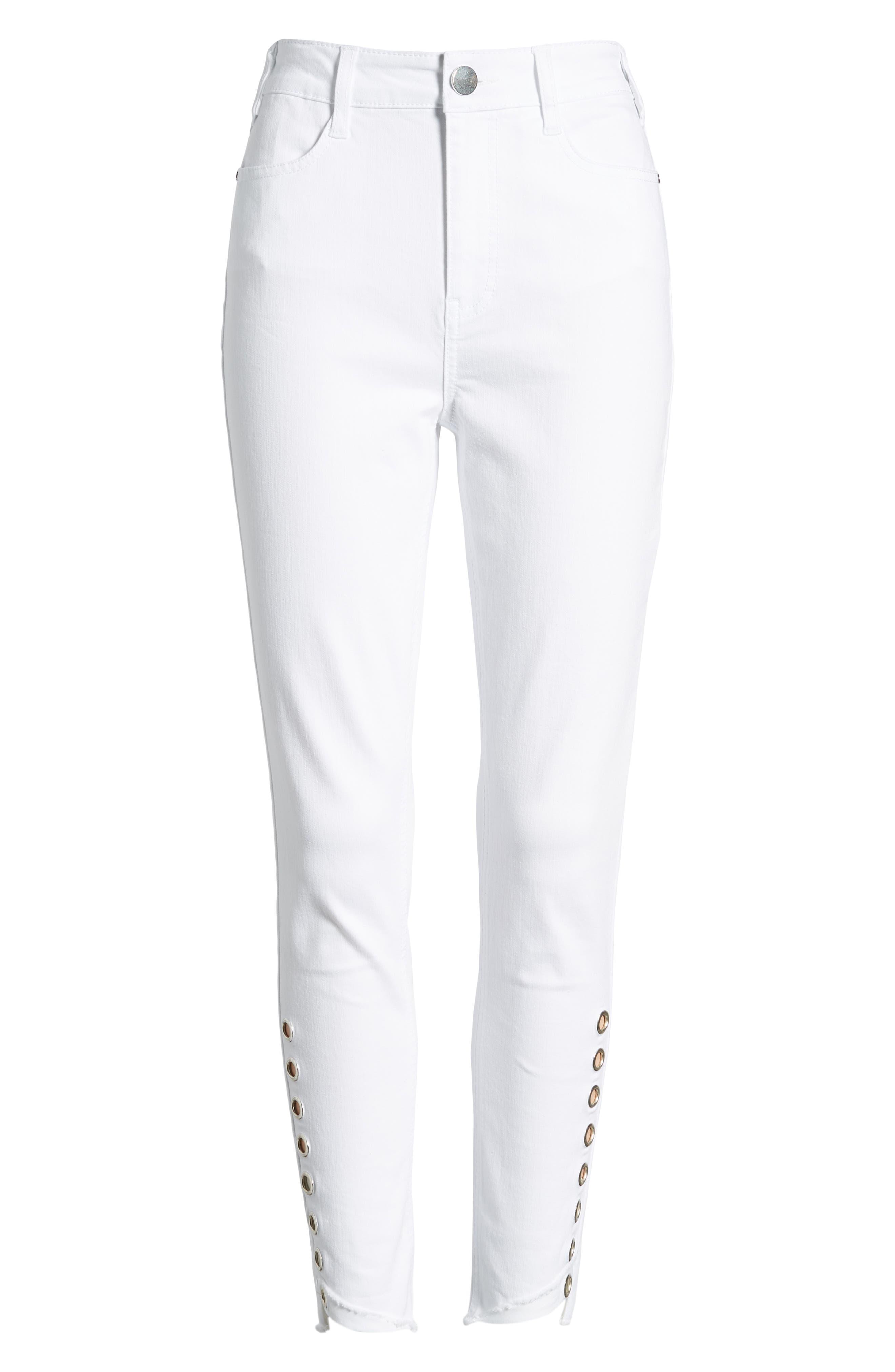 AFRM,                             Grommet Detail Ankle Skinny Jeans,                             Alternate thumbnail 7, color,                             100