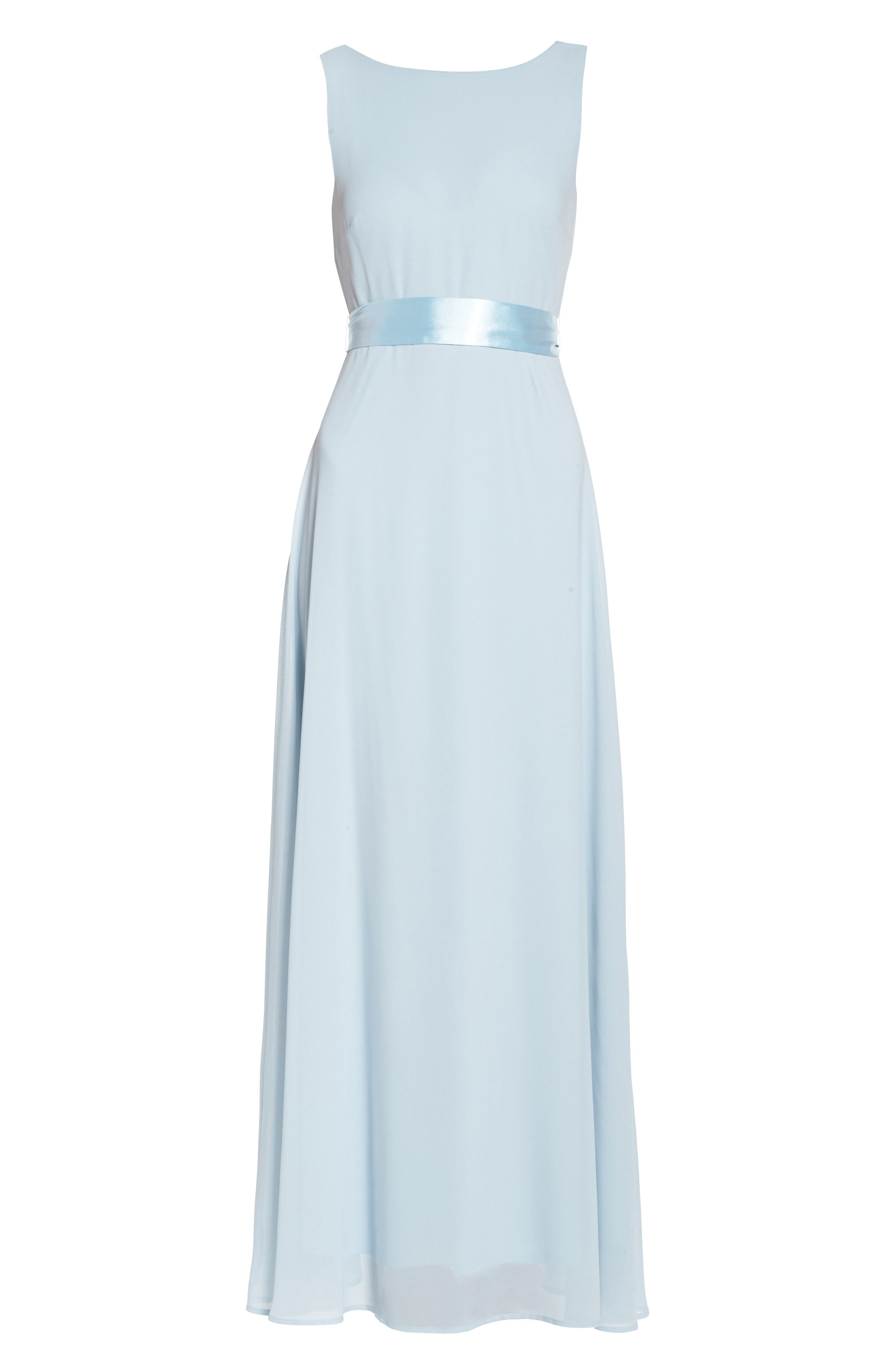 Belted V-Back Chiffon Gown,                             Alternate thumbnail 6, color,                             400