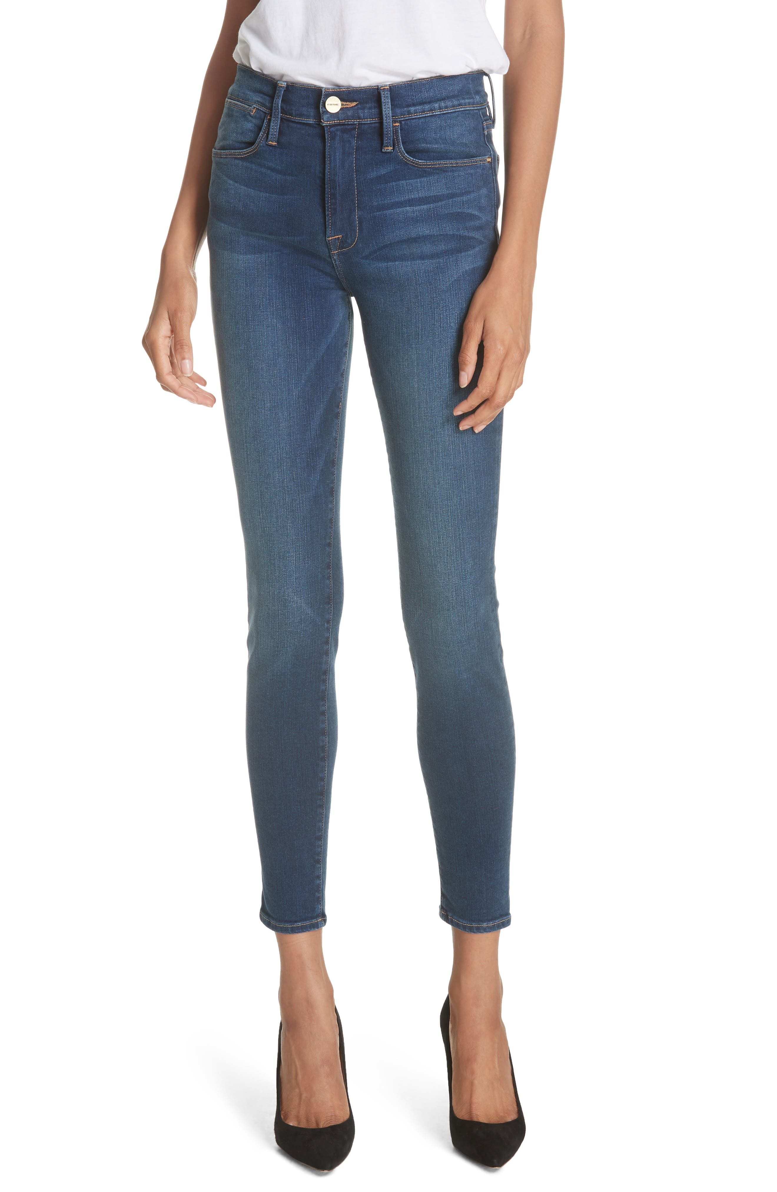 Women's Frame Le High Ankle Skinny Jeans, Size 31 - Blue