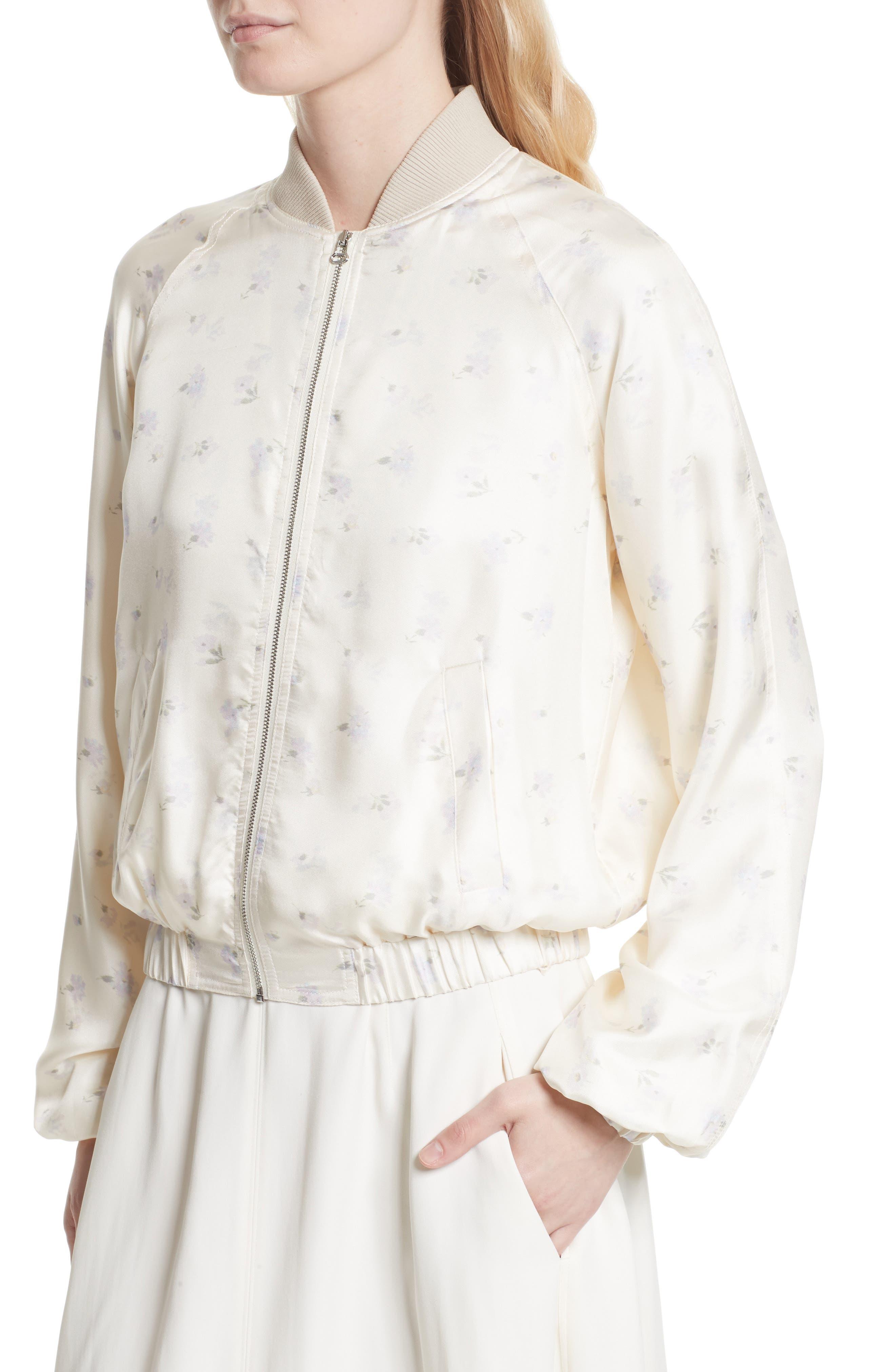 Jacque Floral Print Silk Bomber Jacket,                             Alternate thumbnail 4, color,                             903