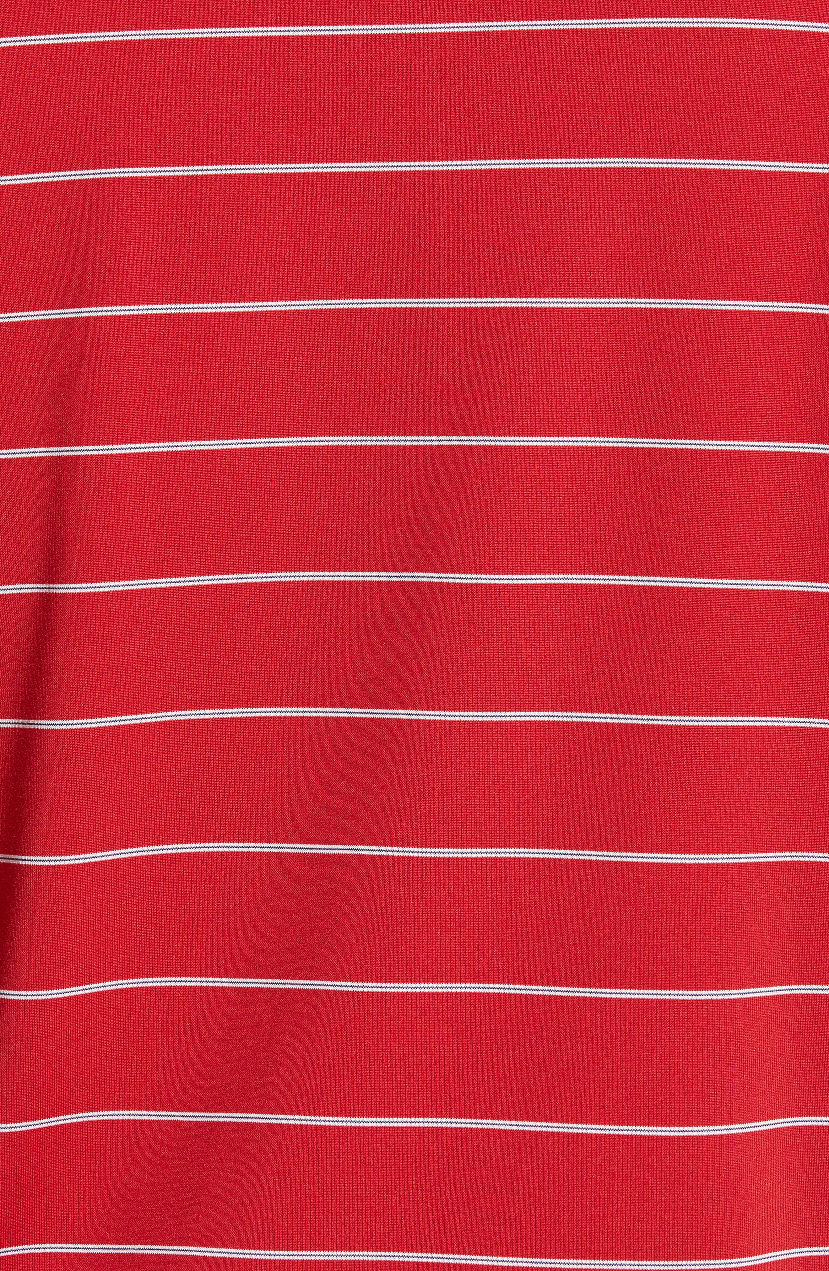 XH2O Momentum Stripe Jersey Polo,                             Alternate thumbnail 5, color,                             CAMBRIDGE RED