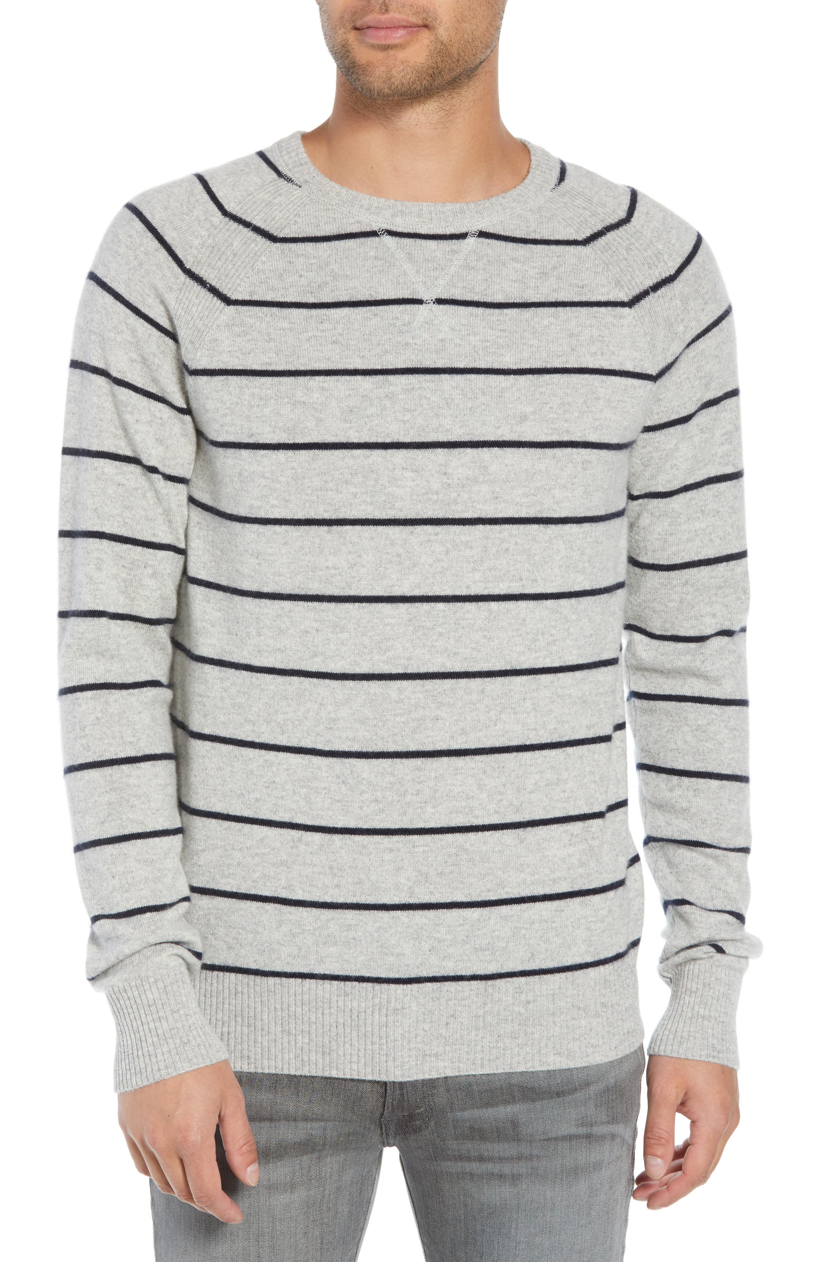 Caleb Stripe Cashmere Sweater,                         Main,                         color, LIGHT HEATHER GREY/ NAVY