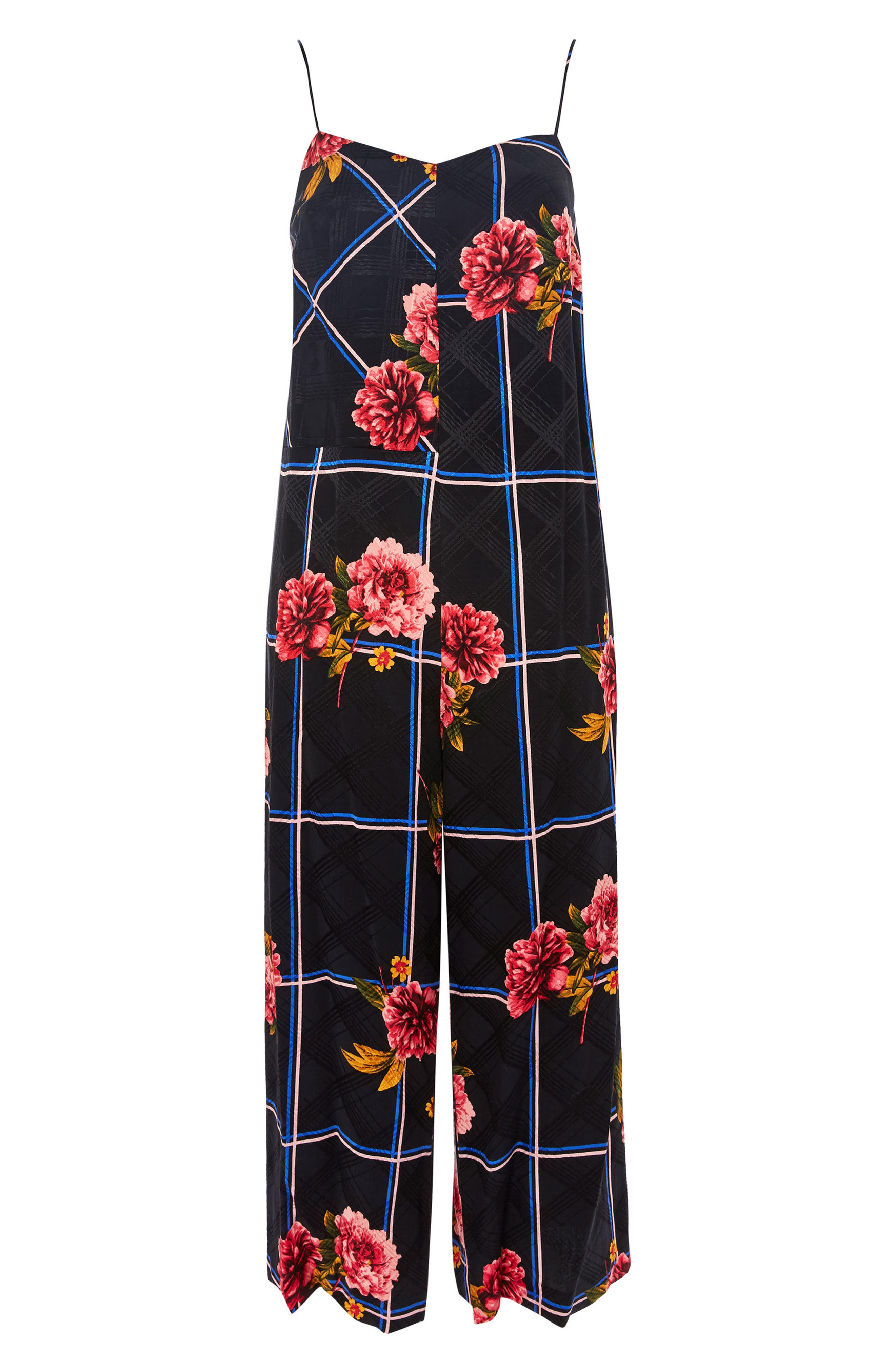 Check Floral Jumpsuit,                             Alternate thumbnail 3, color,                             001