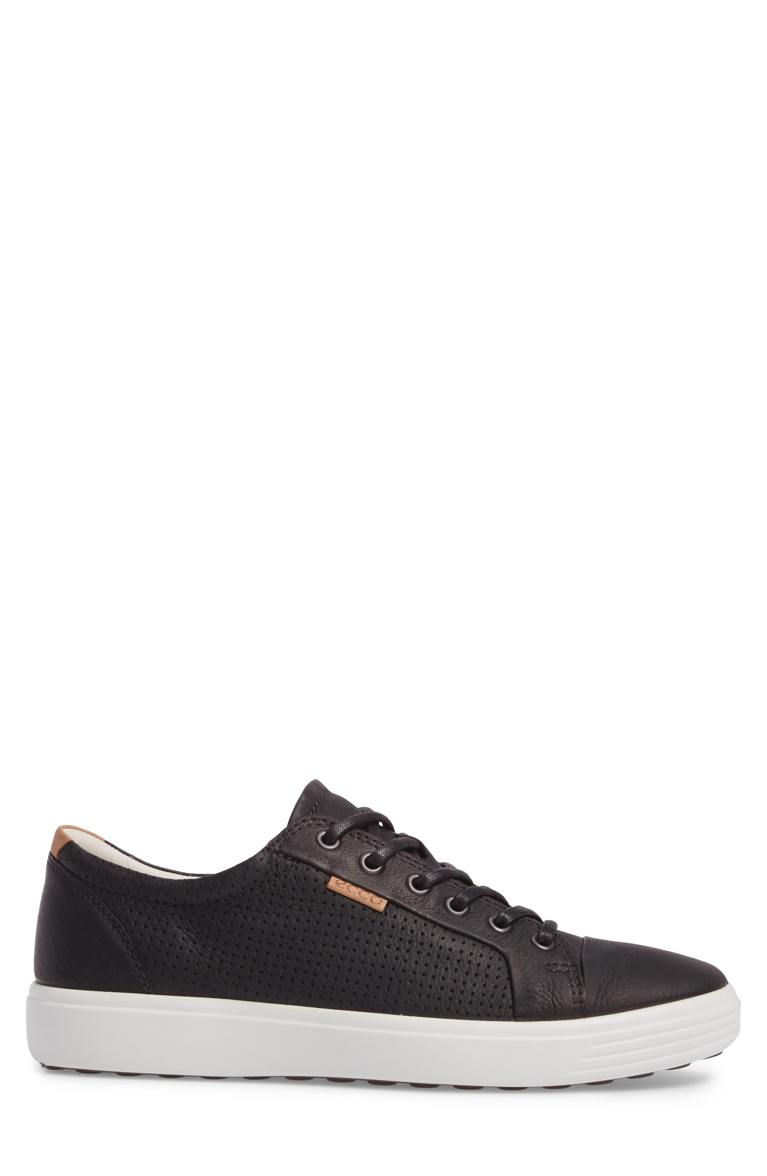 'Soft 7' Sneaker,                             Alternate thumbnail 3, color,                             BLACK LEATHER