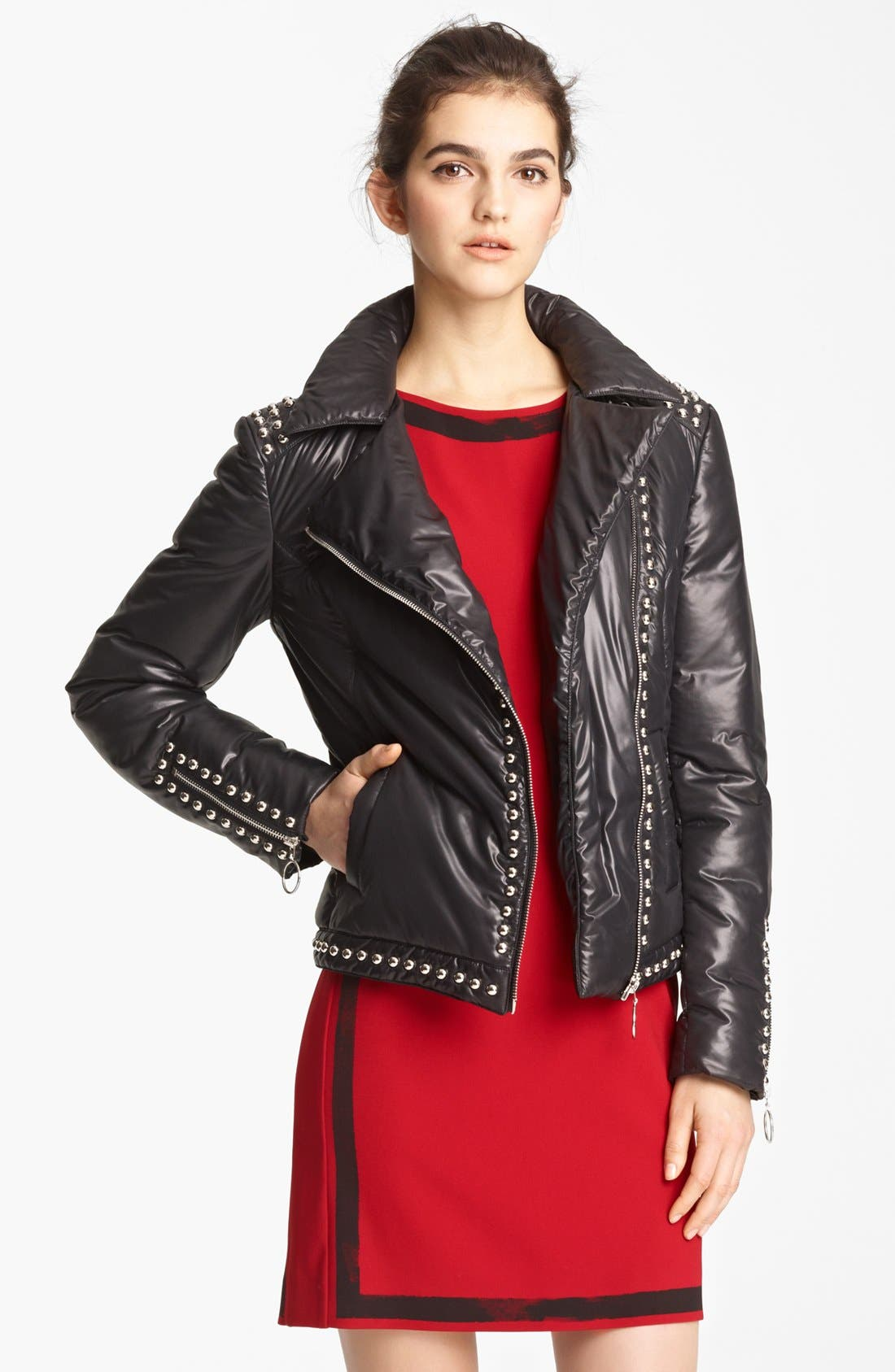 Cheap & Chic Moto Puffer Jacket, Main, color, 001