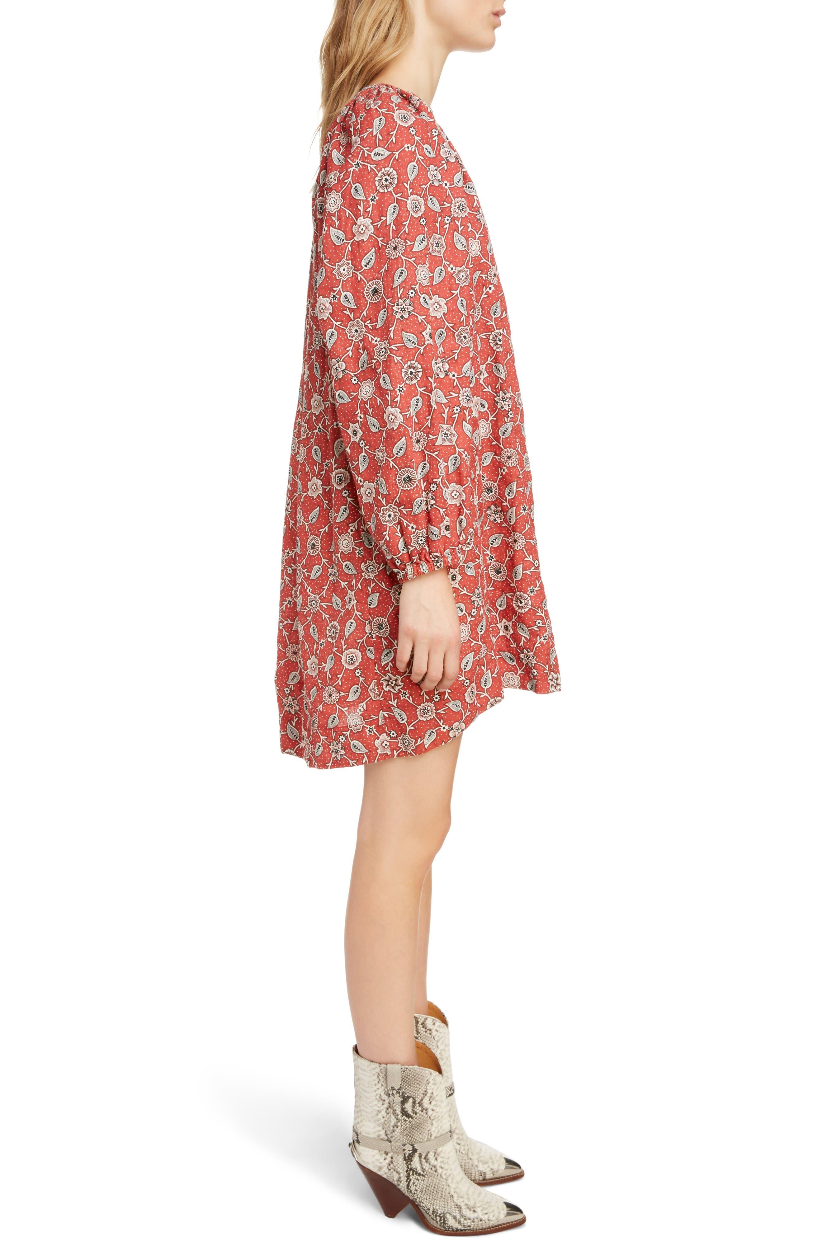 Tockya Print Linen Swing Dress,                             Alternate thumbnail 3, color,                             RUST