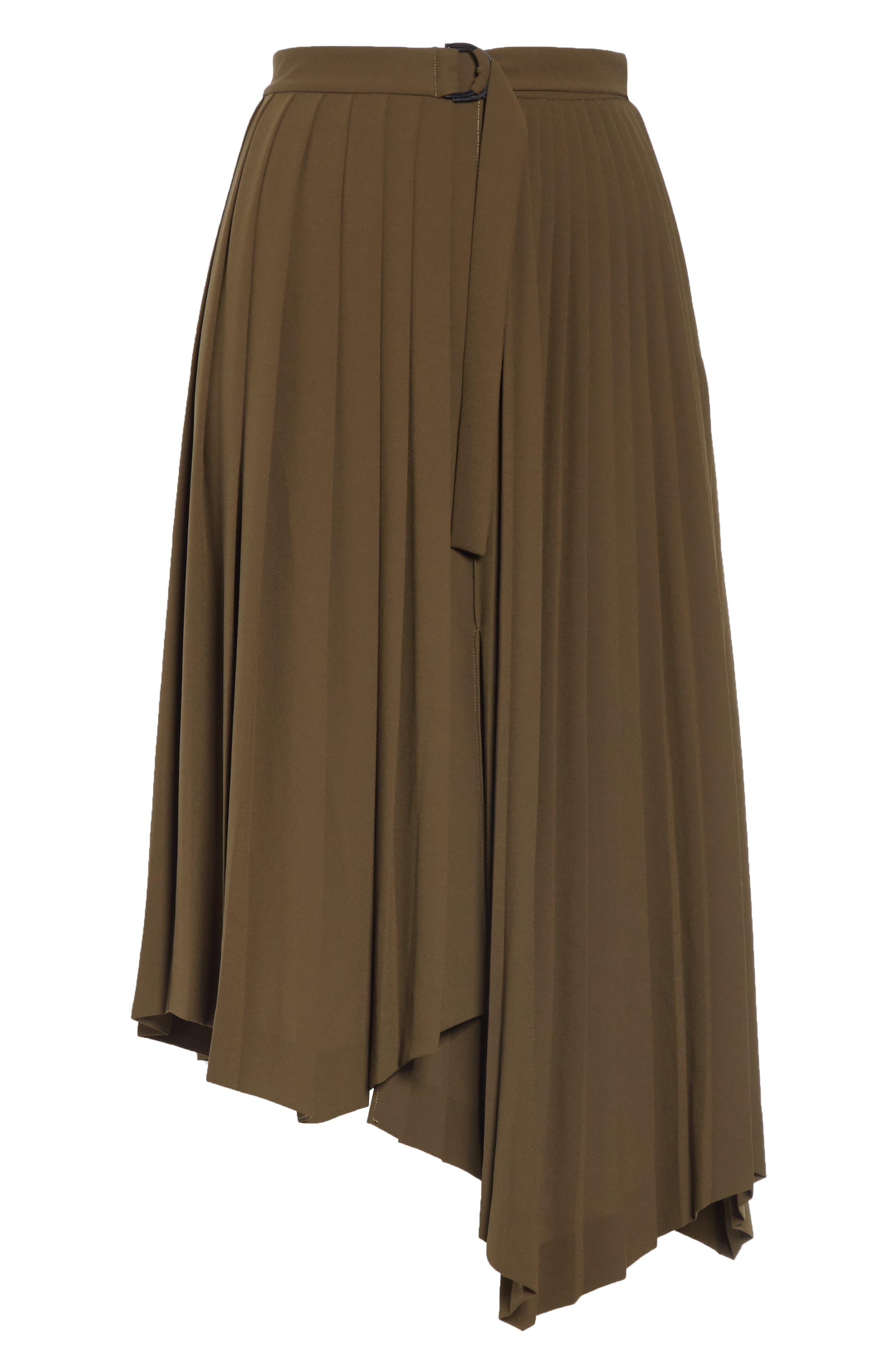 Asymmetrical Pleat A-Line Skirt,                             Alternate thumbnail 6, color,                             OLIVE TUSCAN
