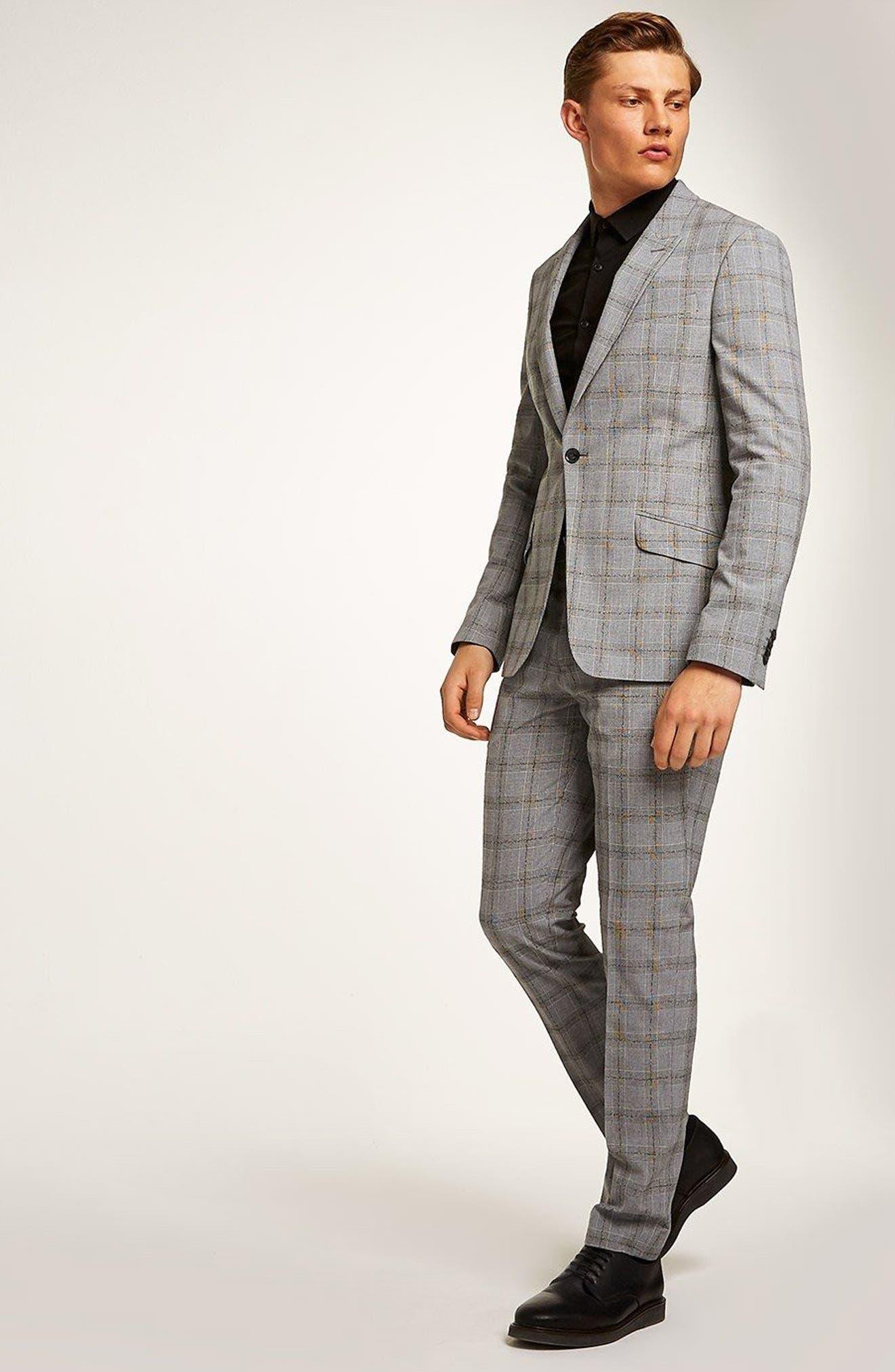 Check Suit Trousers,                             Alternate thumbnail 5, color,                             Grey/ Black