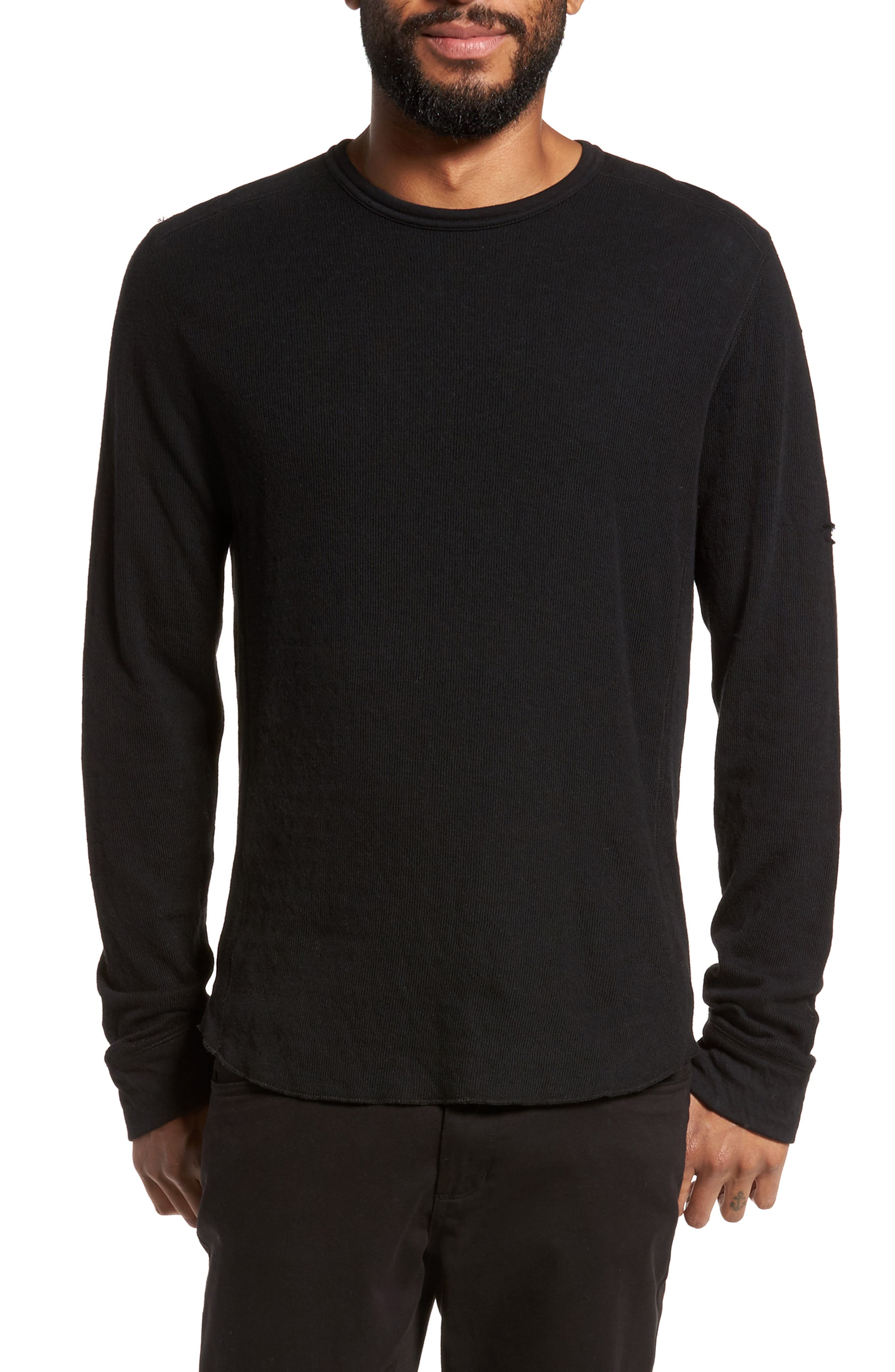 Double Knit Long Sleeve T-Shirt,                         Main,                         color, BLACK